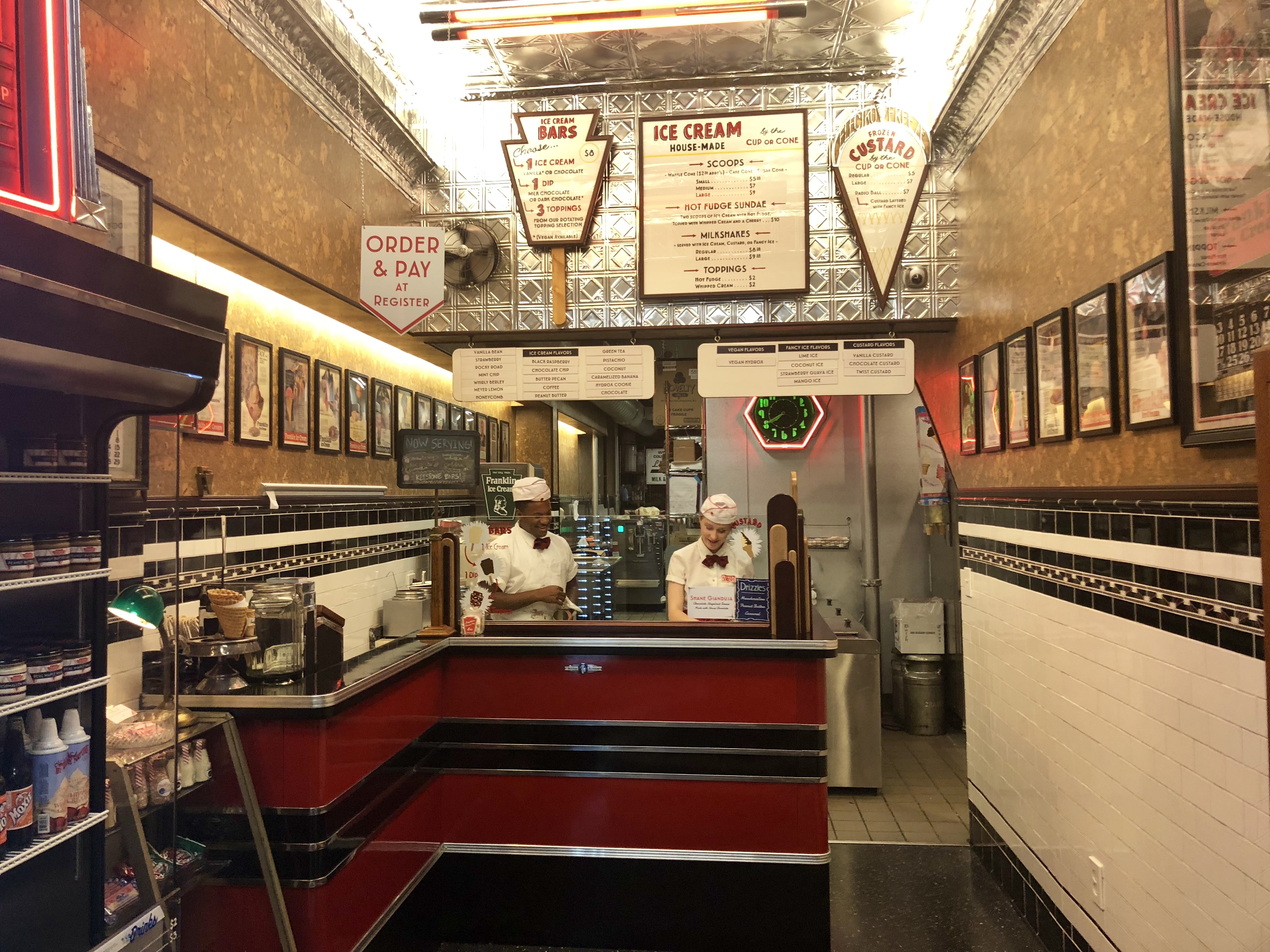 The interior of the new Franklin Ice Cream Bar in Old City was built with an Art Deco theme from some vintage materials.