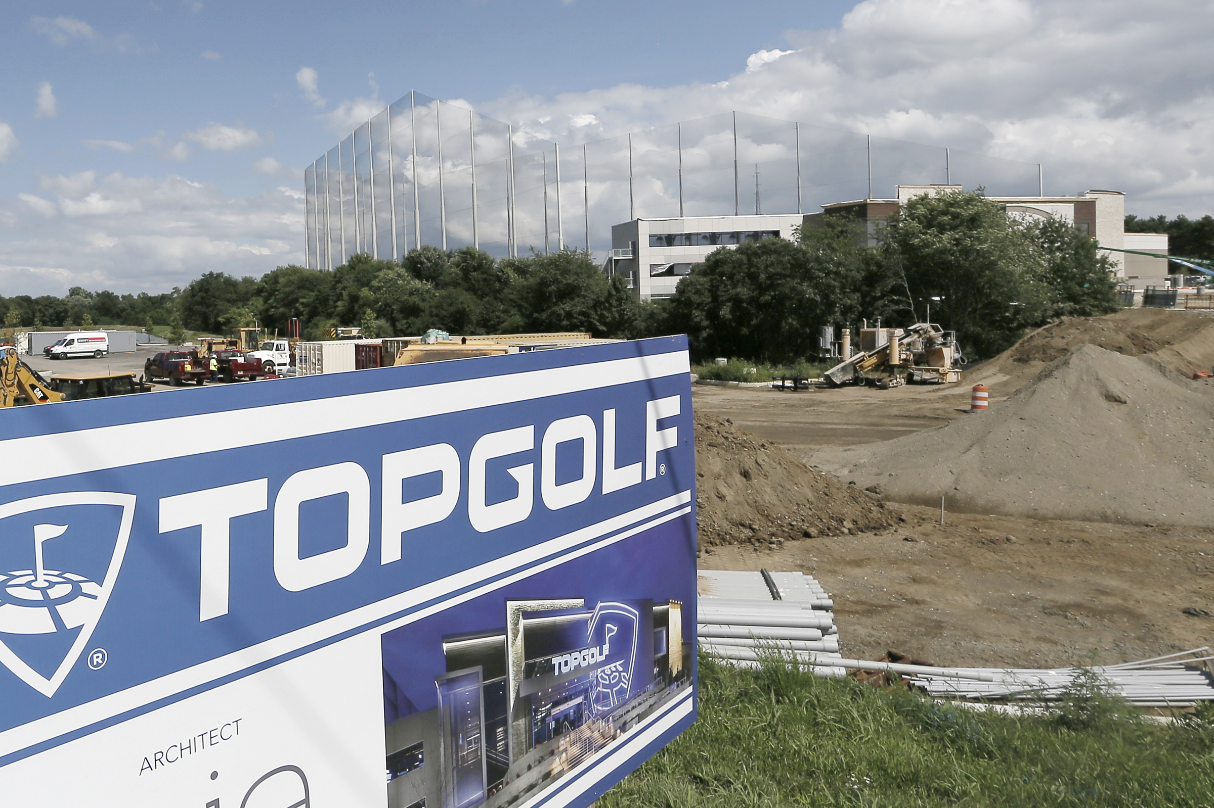 Construction continues at the new Topgolf entertainment center in Mount Laurel, NJ