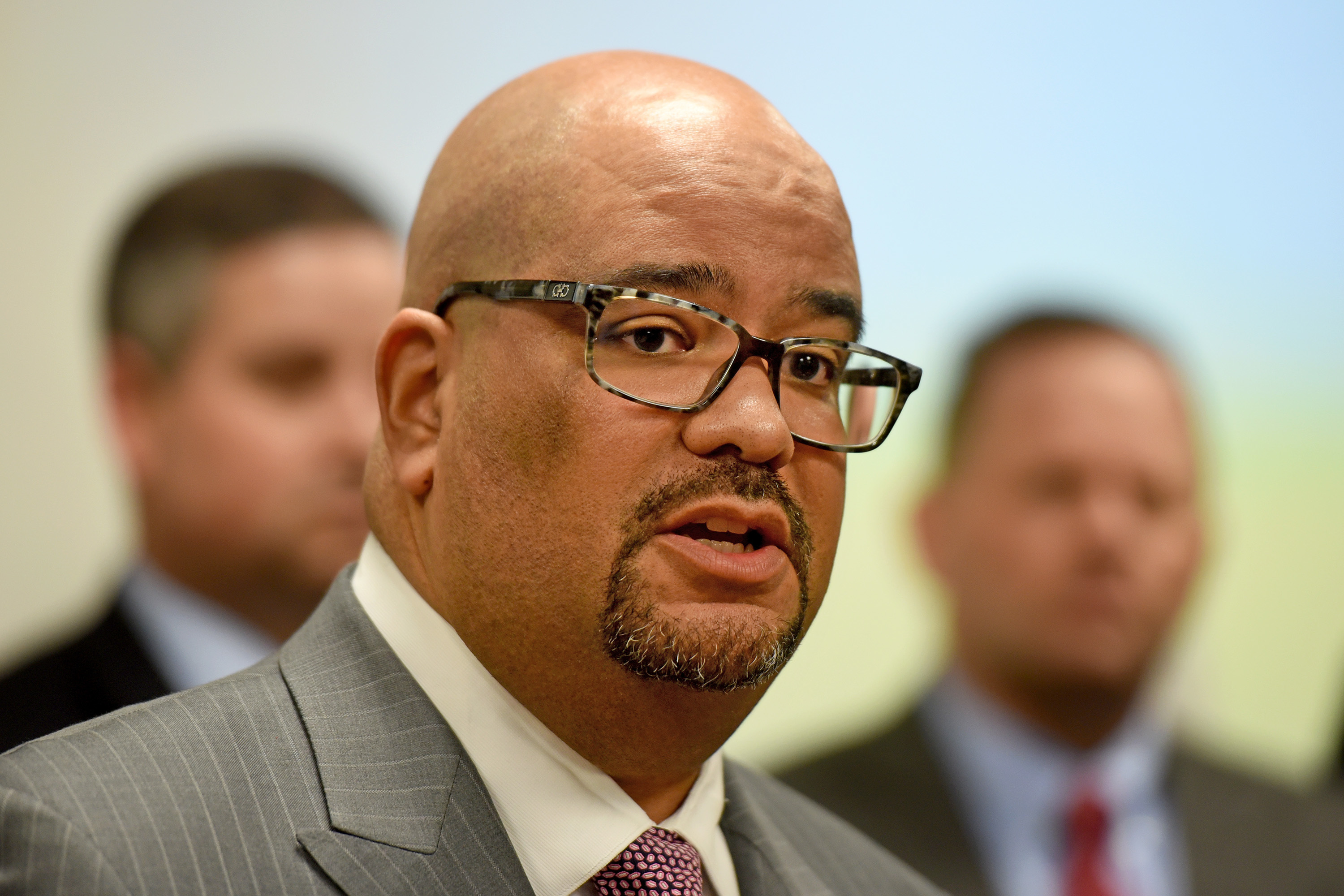 Atlantic County Prosecutor Damon G. Tyner announces at a press conference January 9, 2018 that endocrinologist James Kauffman has been charged with the death of his wife, radio personality April Kauffman. He says it was murder-for-hire plot connected to the Pagan motorcycle gang and designed to prevent her from exposing a vast illegal opioid pill distribution operation. TOM GRALISH / Staff Photographer