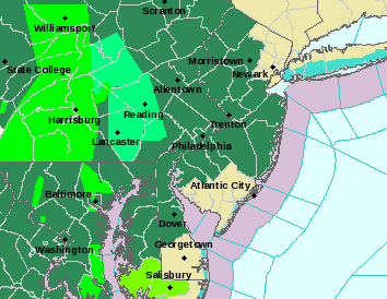 The updated flood-watch area now includes most of New Jersey.