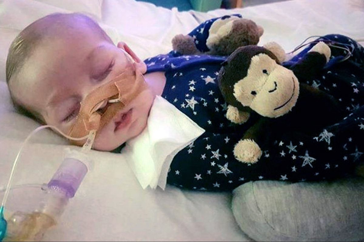 The family provided this photo of Charlie Gard, who has an incurable genetic disease, at Great Ormond Street Hospital in London.