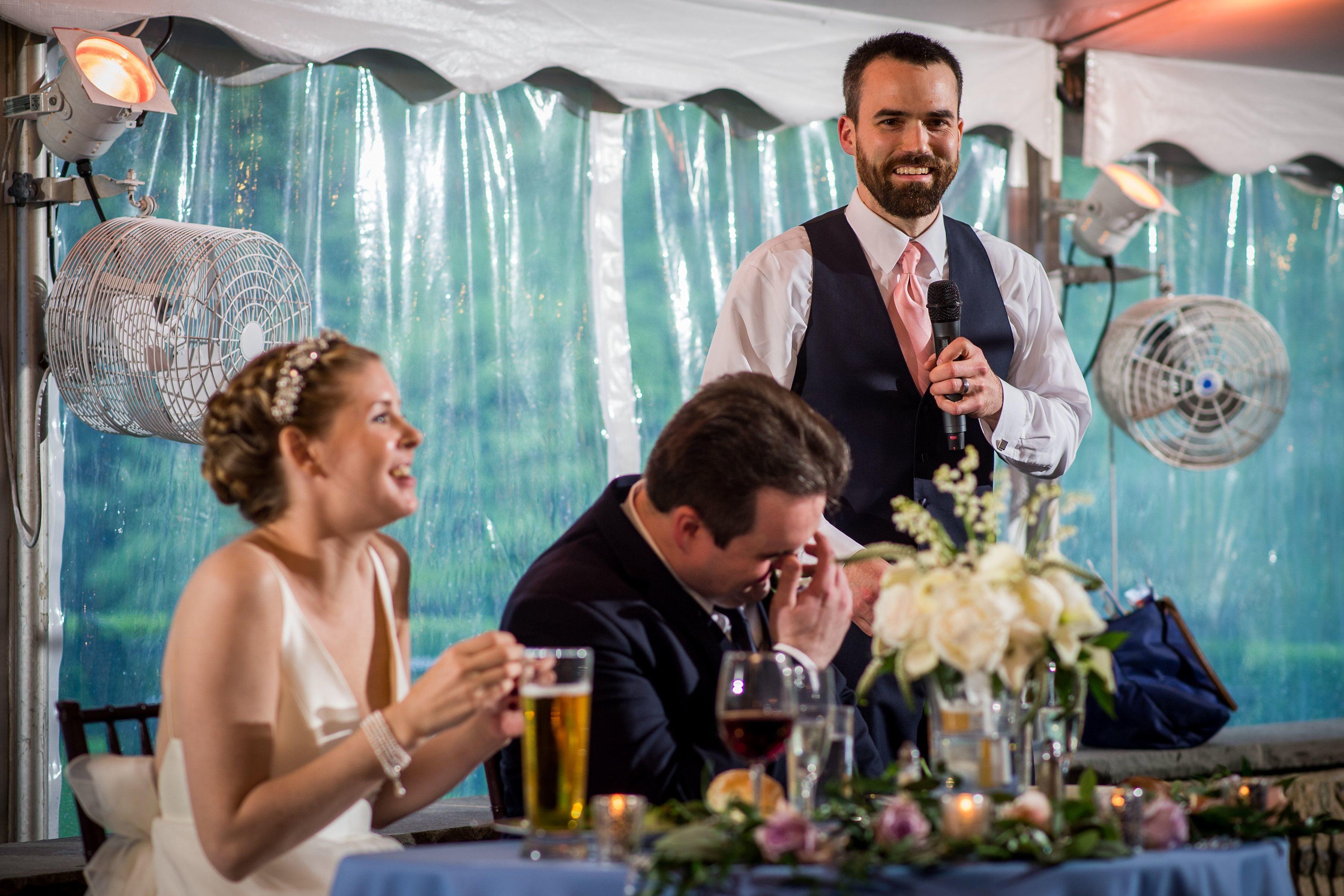 Bride Kerry Hansen, groom Matt Furey, and best man Drew Luscombe.