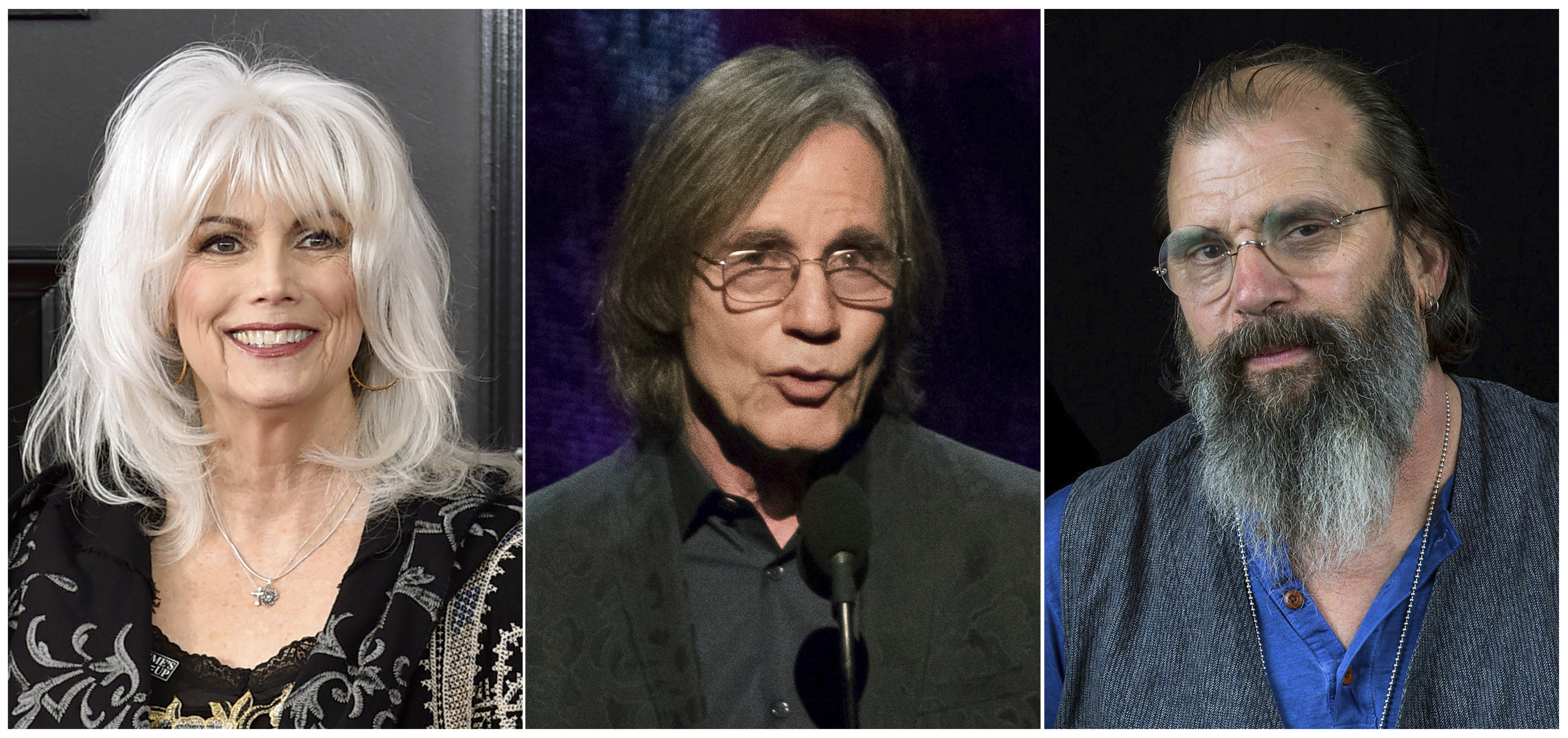 "This combination photo shows, from left, Emmylou Harris, Jackson Browne and Steve Earle, who will be participating in a five-city concert series to support families who have been separated at the border due to immigration policies put into place by the Trump administration. The Women's Refugee Commission announced ""The Lantern Tour: Concerts for Migrant and Refugee Families,"" which will run from Oct. 23 thru Oct. 28. (AP Photo)"