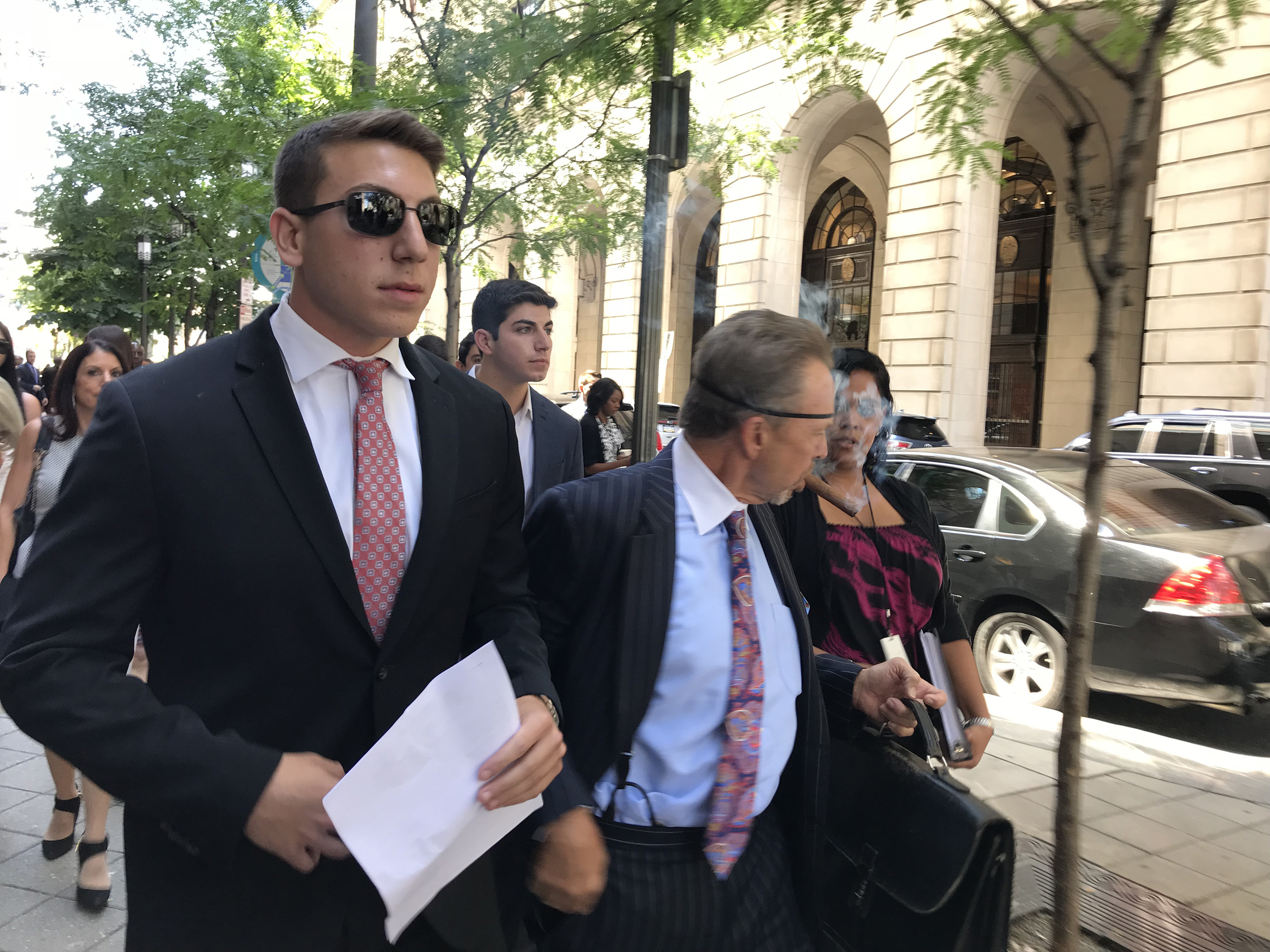 Ari Goldstein, left, former president of Temple University´s Alpha Epsilon Pi fraternity, leaves the Criminal Justice Center after a preliminary hearing on July 19, 2018.