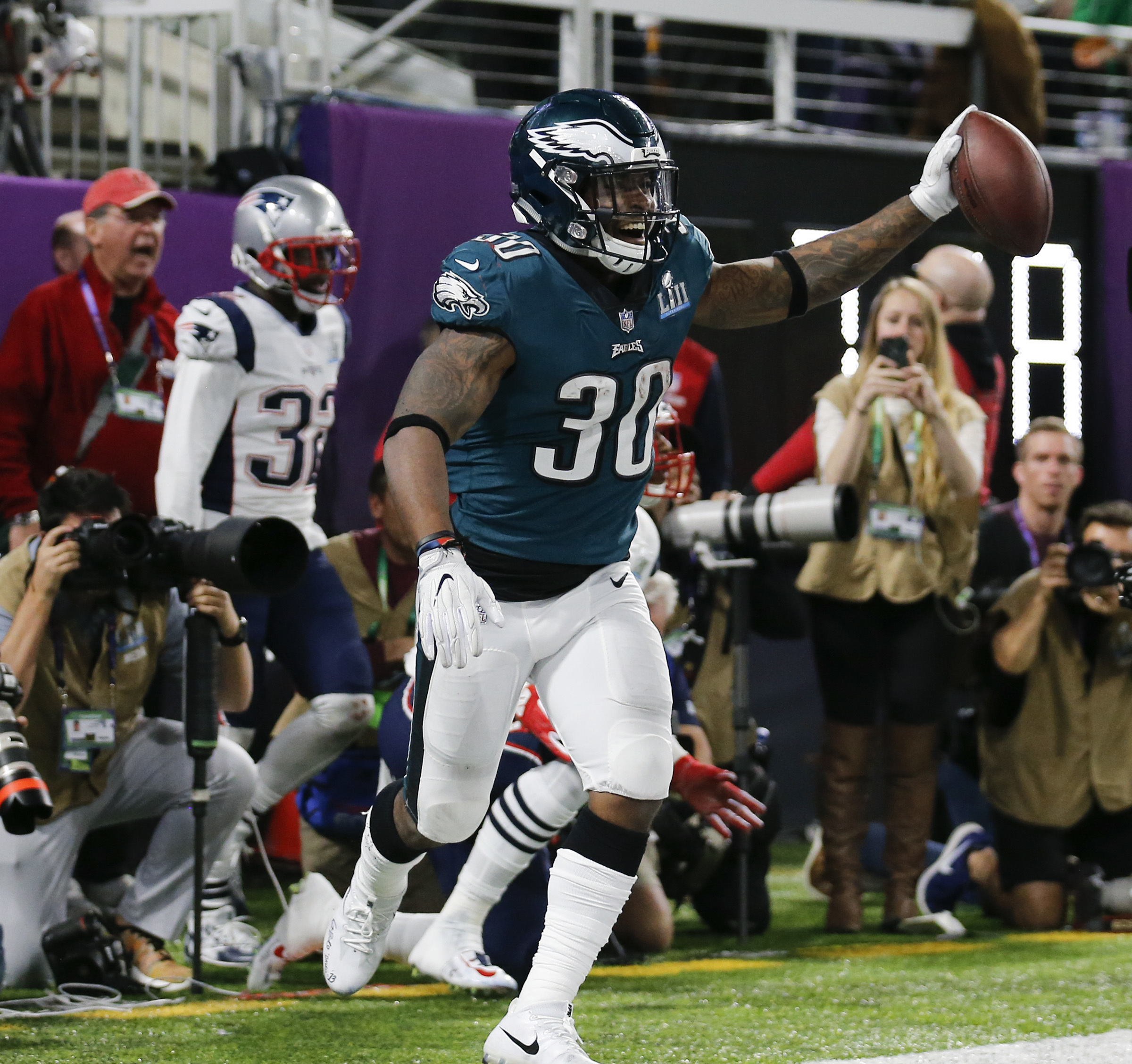Corey Clement had his national coming-out party in Super Bowl LII, catching four passes for 100 yards and a key touchdown.