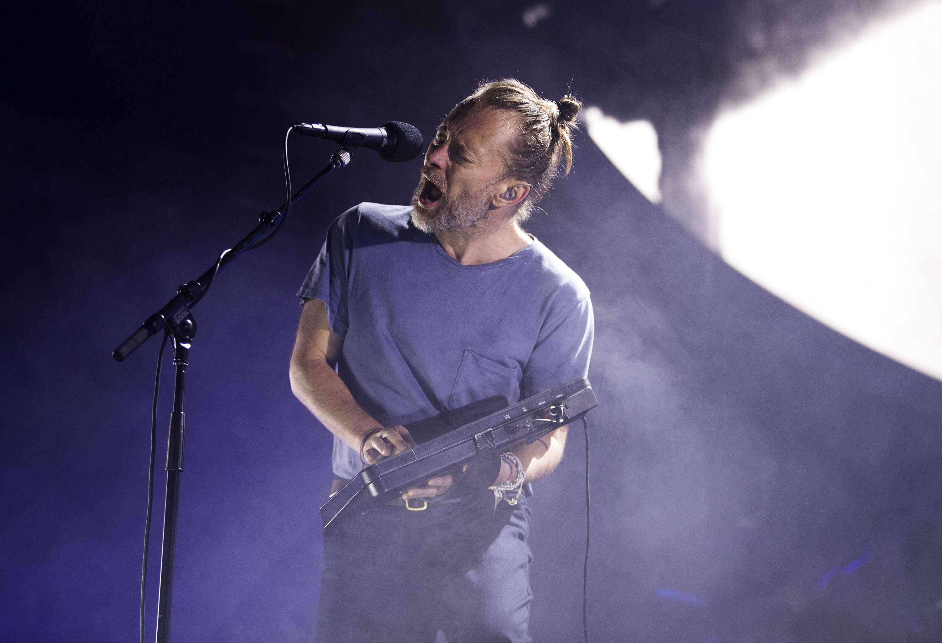Thom Yorke of Radiohead performs at Wells Fargo Center on July 31, 2018. CHARLES FOX / Staff Photographer