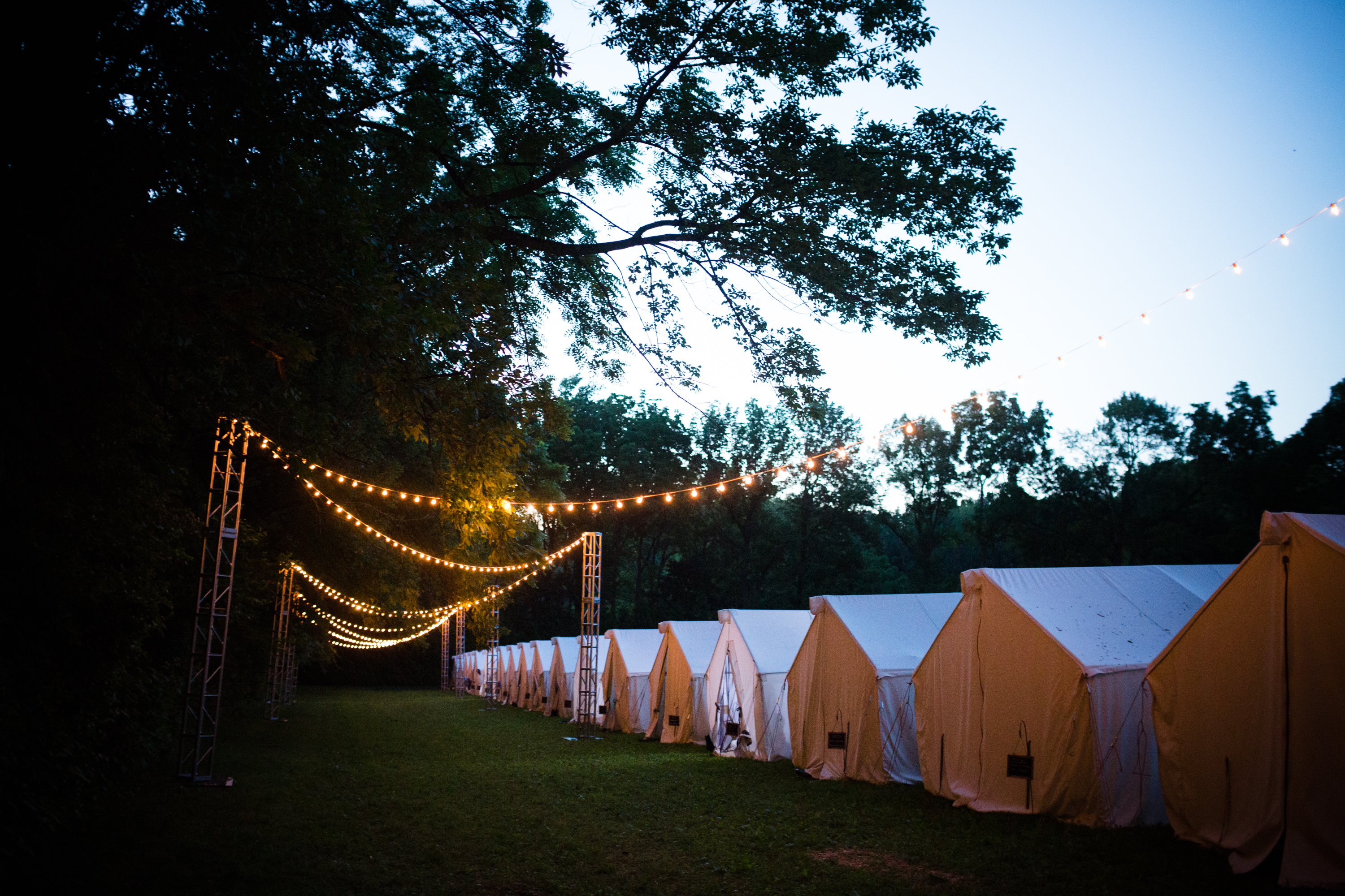 Some of the Christina Matthias and Hank Garretts guests spent the weekend staying on the farm in a cluster of tents.