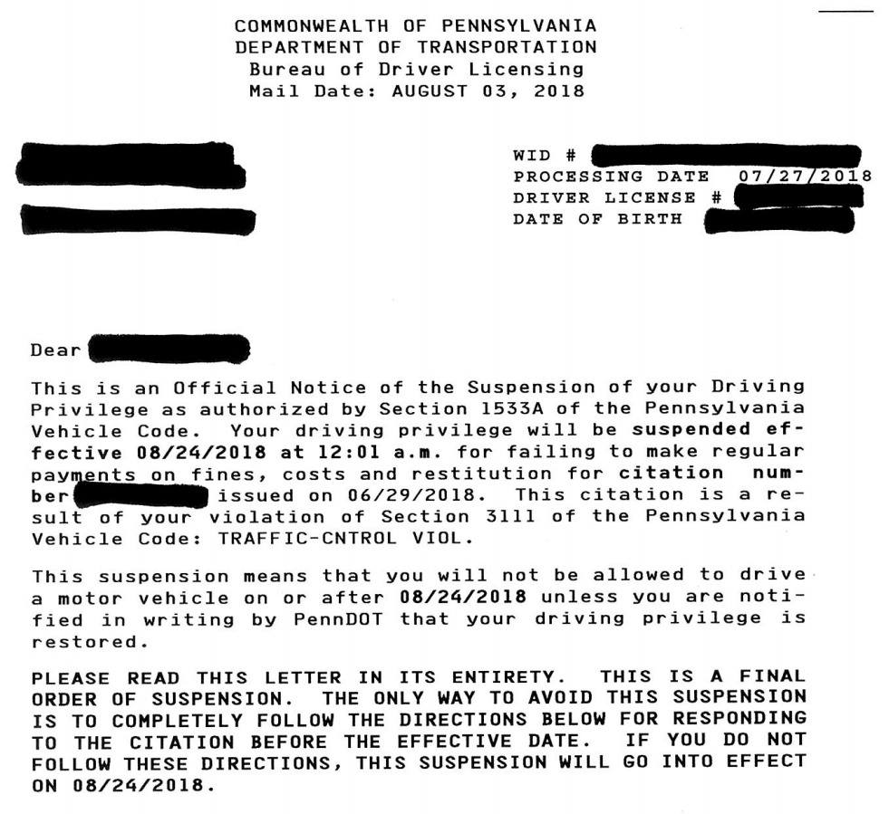 The beginning of a four-page sample suspension letter sent to drivers who do not pay fines and court costs.