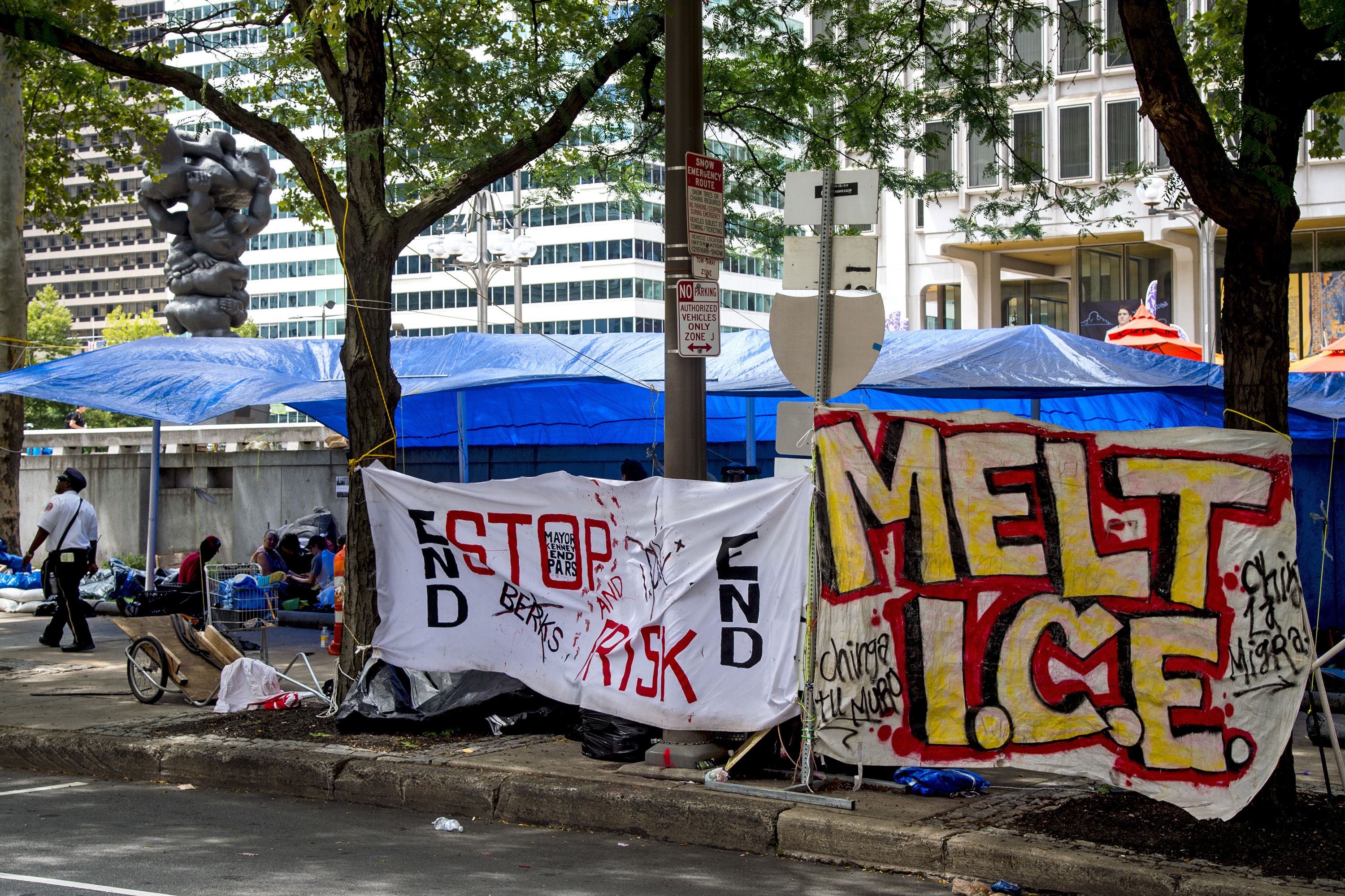 Protesters are camped out on the eastern side of the Thomas Paine Plaza at the Municipal Services Building (near Broad & Arch Streets) July 29, 2018. They moved from the apron of City Hall Saturday, ahead of a city-imposed deadline, protesting the federal Immigration and Custom Enforcement agency (ICE).