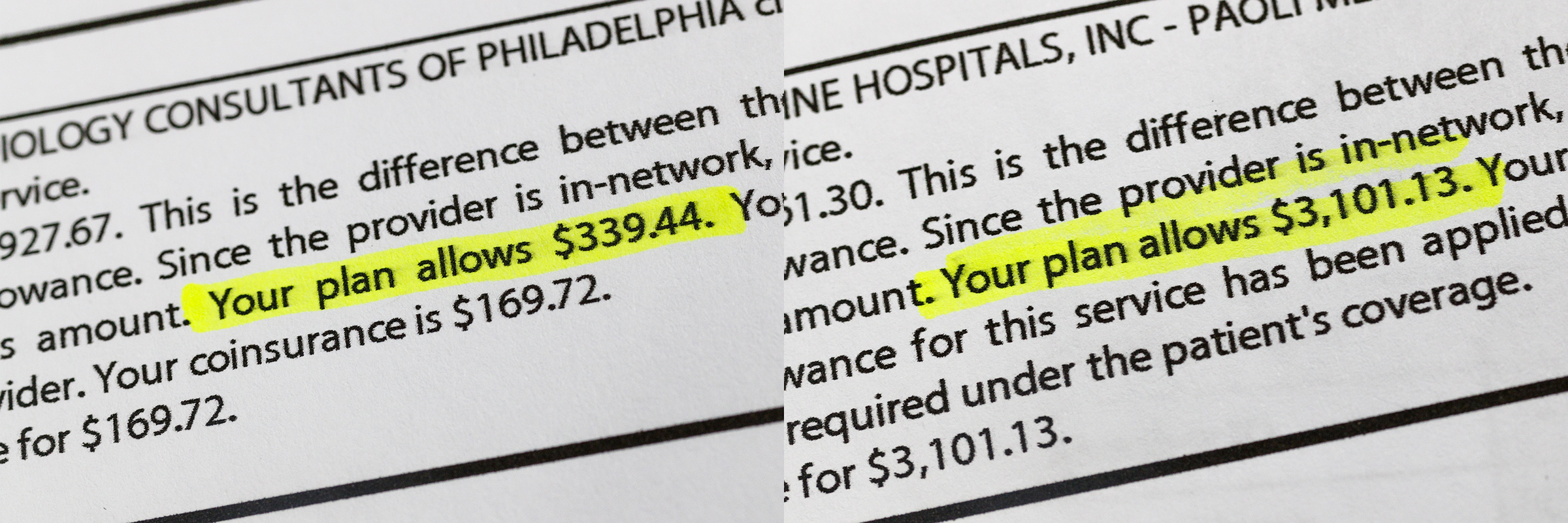 Detail of the first bill George Hahn received for $339.44, left, and his second bill for $3,101.13, right, for both echocardiograms at Paoli Hospital.