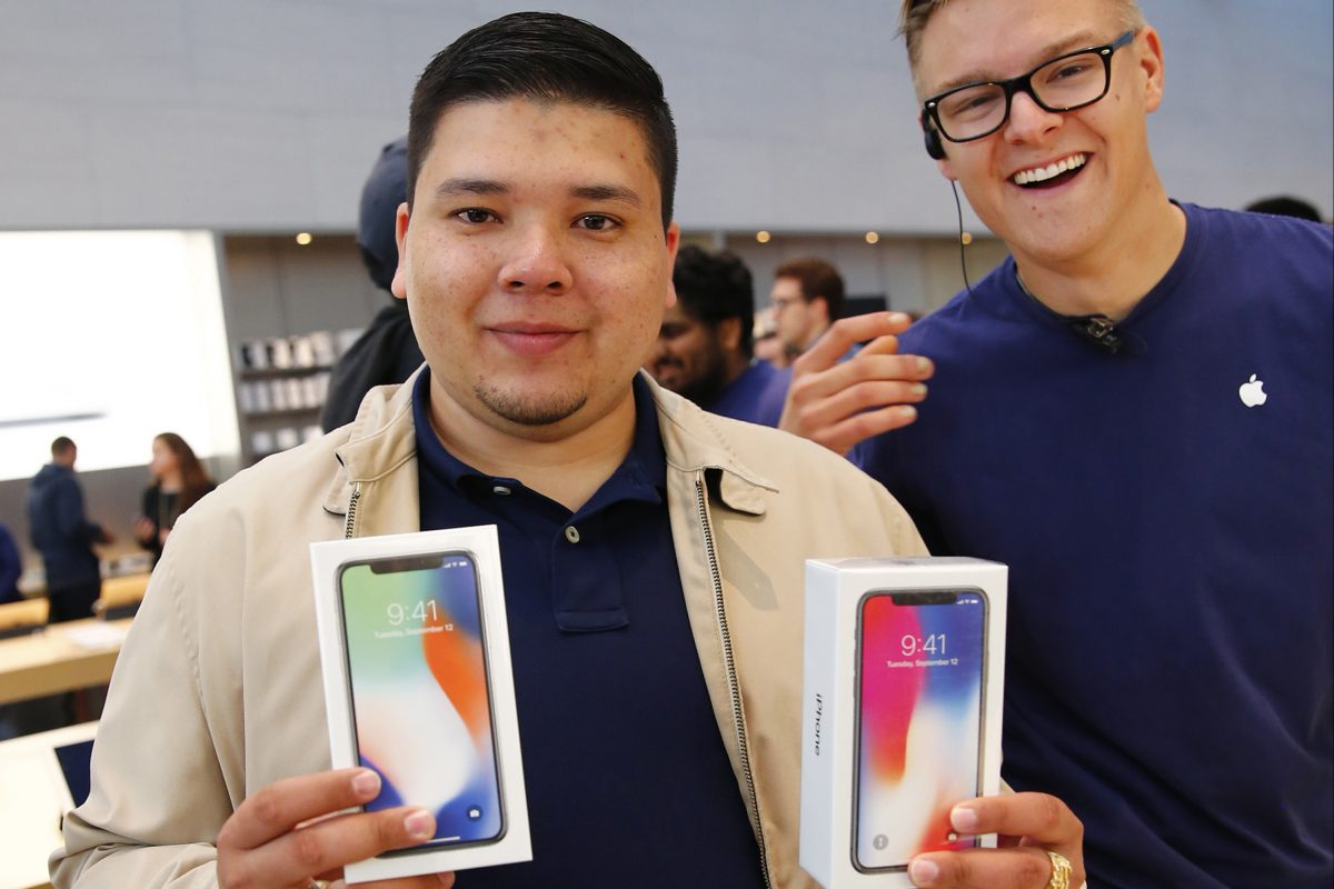 David Casarez, of Mountain View, is the first in line to buy the new iPhone X at the Apple store in Palo Alto, California, on Nov. 3, 2017.