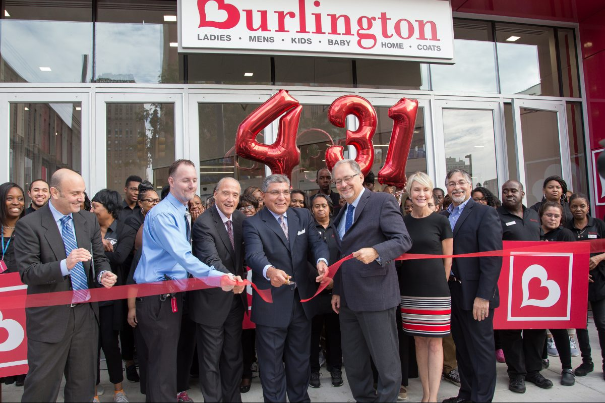 Fred Hand, Chief Customer officer Burlington Stores, cutting the ribbon, and David Coder, Executive Vice President of Stores, right of man cutting ribbon, at the grand opening of the new Burlington Store at 833 Market Street, in Philadelphia, Sept. 22, 2017.  Burlington ranks 459 on the Fortune 500 list.