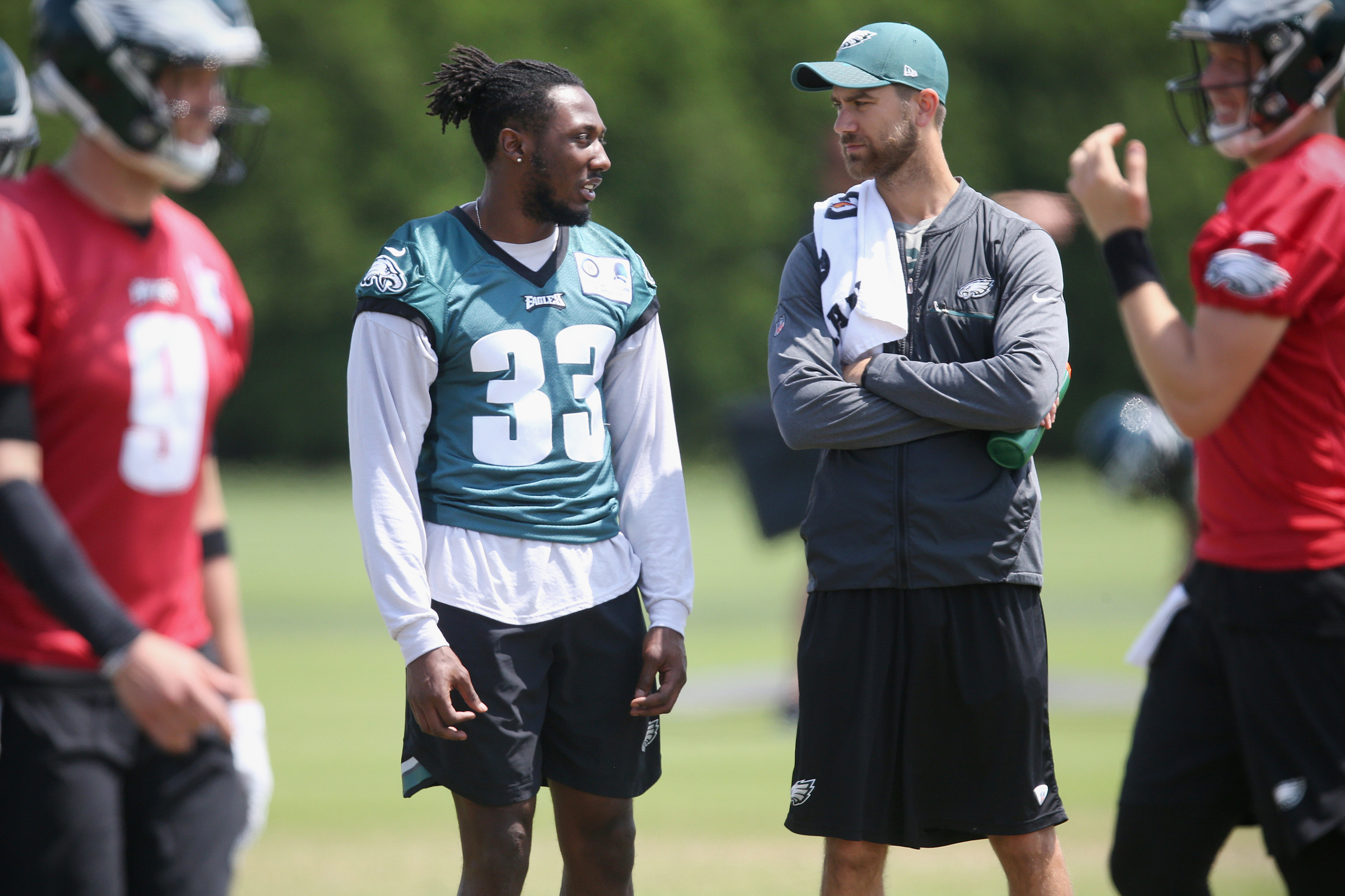 Josh Adams is one of four running backs, along with Wendell Smallwood, Matt Jones and Donnel Pumphrey, who are trying to make the Eagles roster behind the starters.