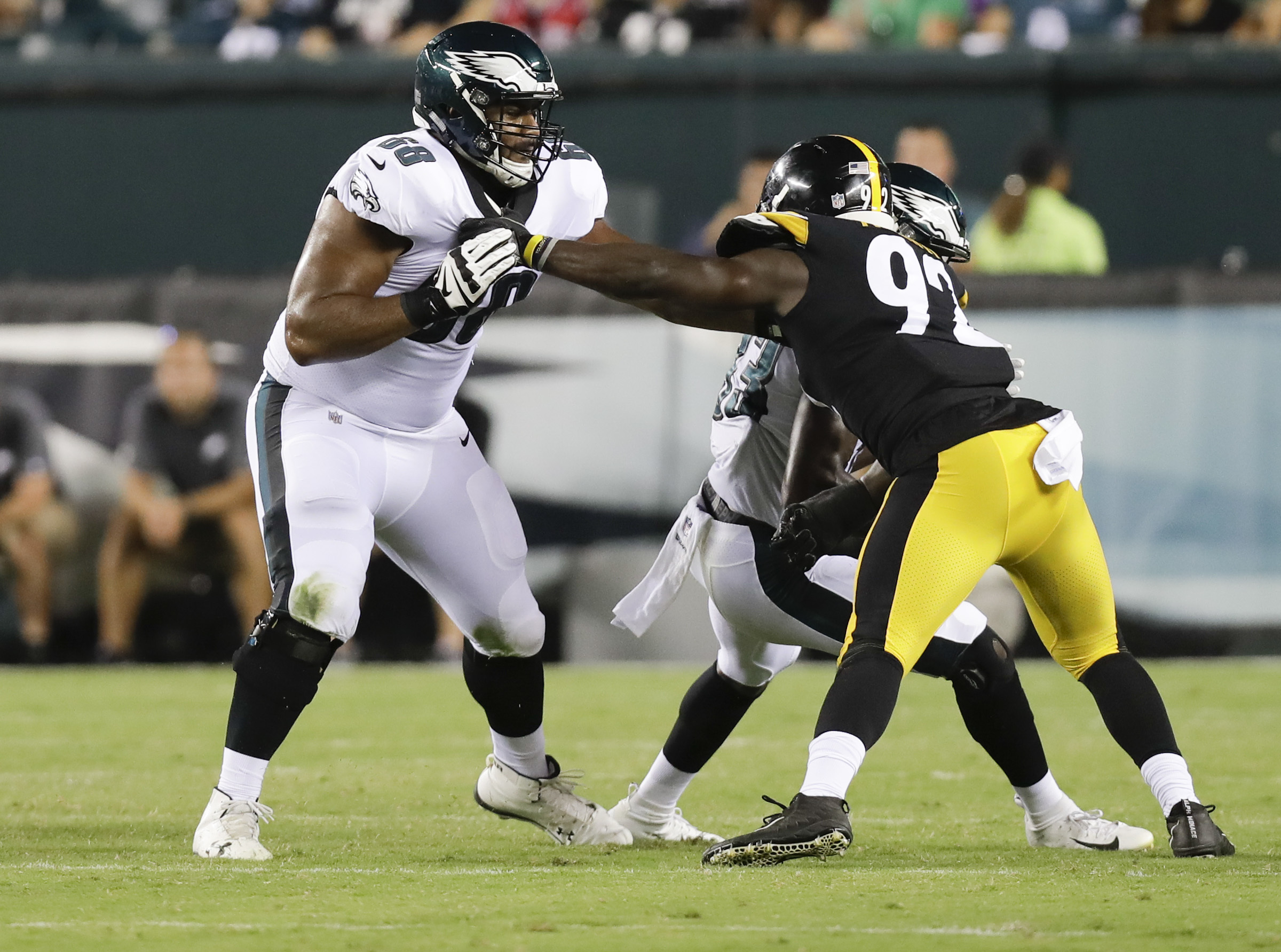 Jordan Mailata (left) played left tackle in the second half Thursday night.