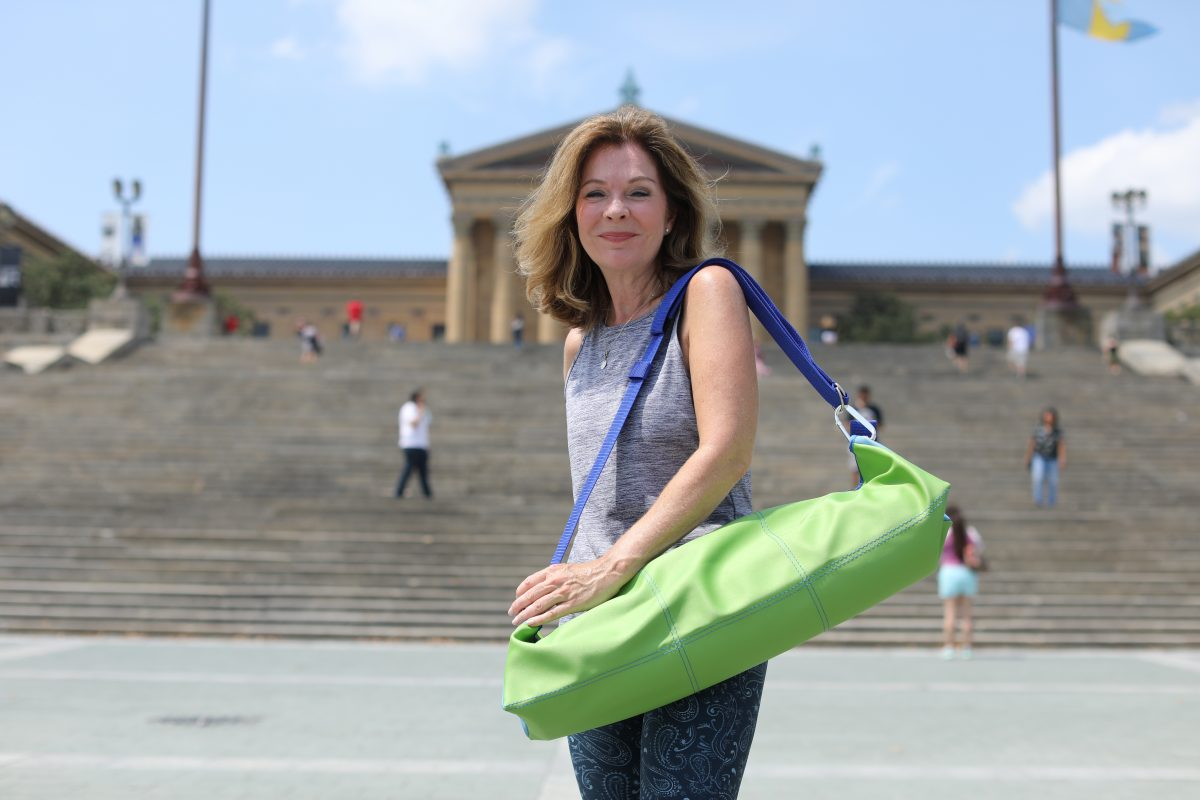 Lori Gildea, owner of Doylestown-based company, ThePureBags, an anti-microbial yoga bag designed to protect your sweaty yoga items from being, well, icky, Wednesday August 8, 2018 DAVID SWANSON / Staff Photographer .