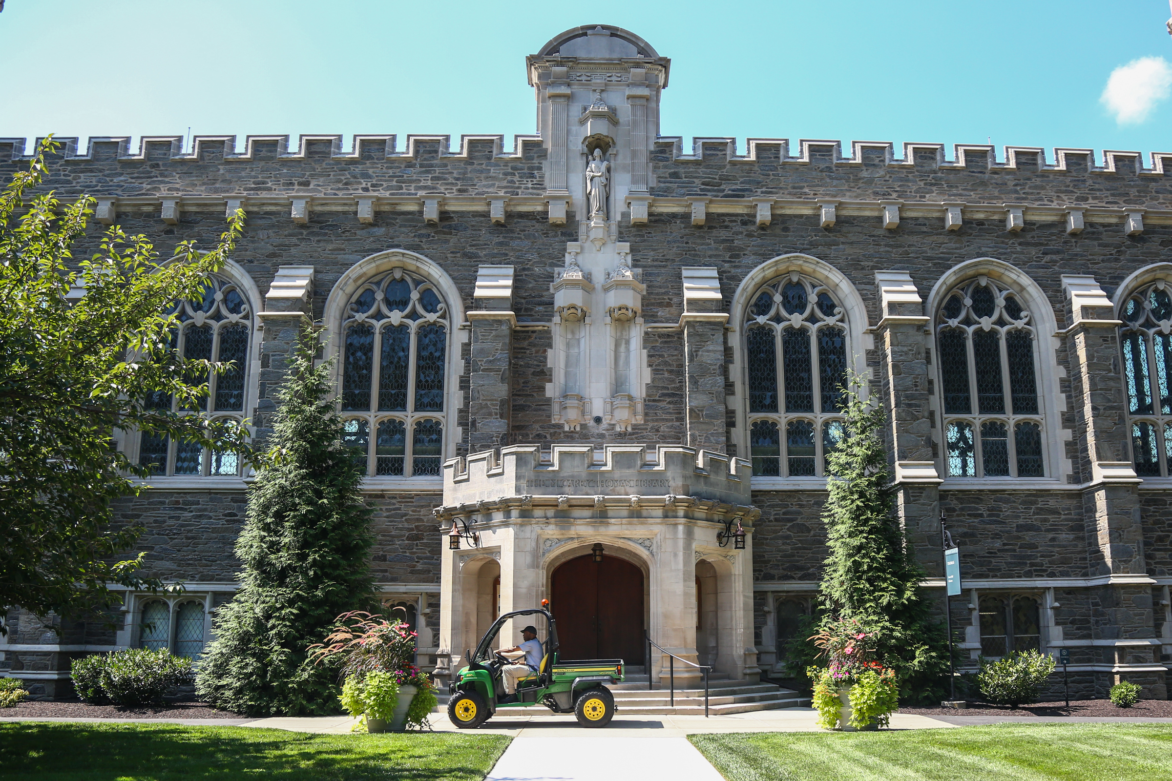 The Thomas Building sits in the center of campus and has classroom spaces, a library, and a great hall, also named after Thomas. Trustees have decided the library and the great hall will no longer be referred to as Thomas, though her name will be left etched on the building. (Emily Cohen/for The Inquirer)