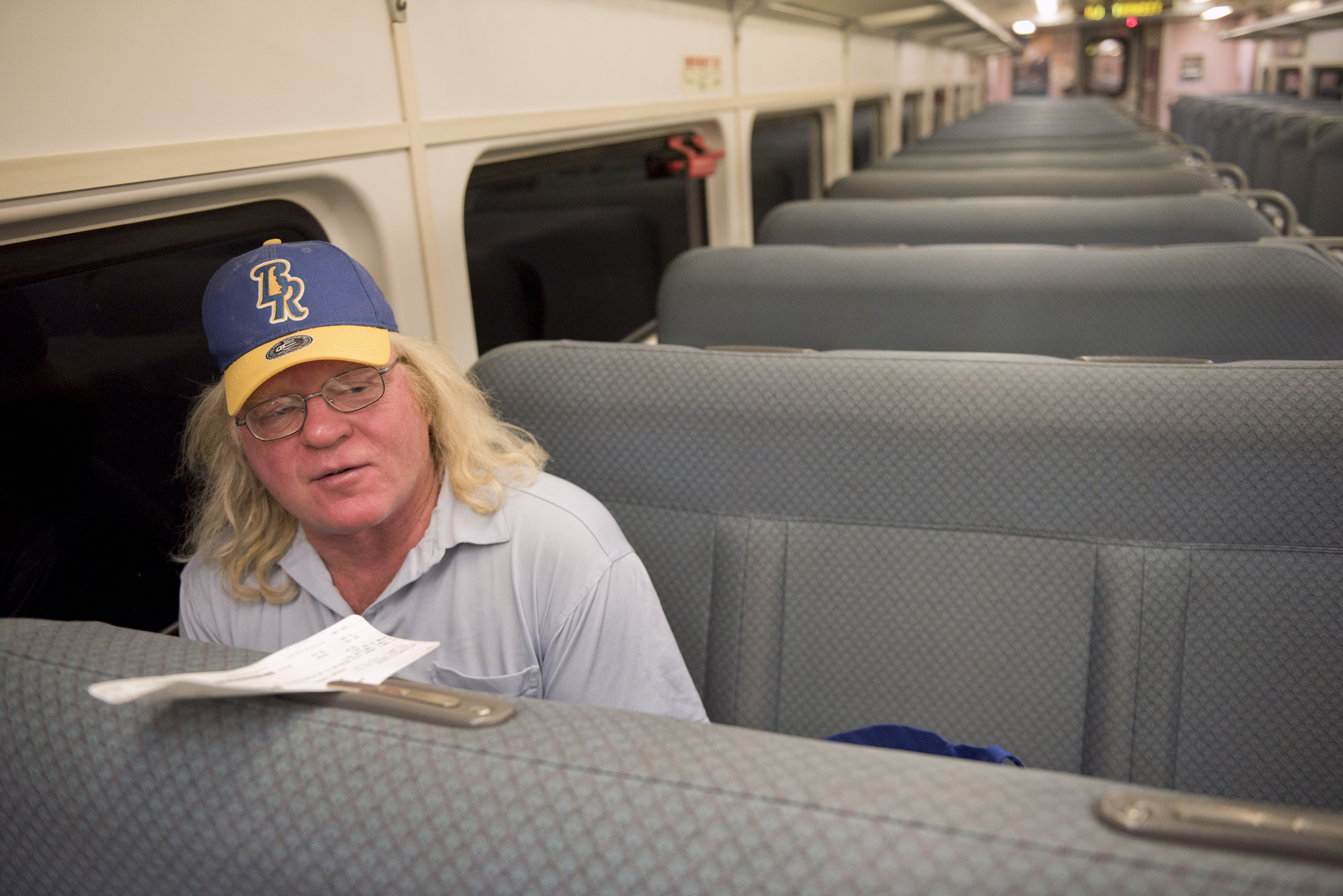 Michael Wilkowski of Philadelphia rides the New Jersey Transit Atlantic City Rail Line Thursday August 9, 2018. The line which runs between Philadelphia and Atlantic City is slated for a 5 month suspension. Avi Steinhardt / For the Inquirer