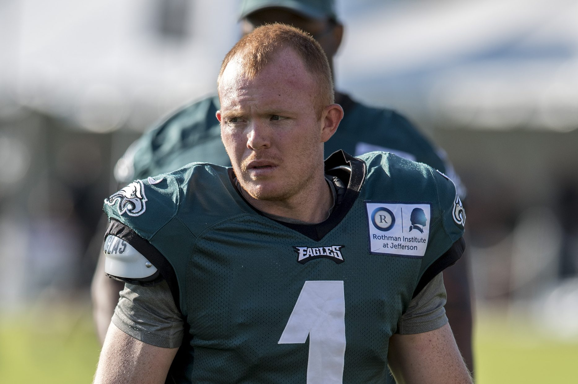 Eagles undrafted rookie punter Cameron Johnston at training camp August 1, 2017.