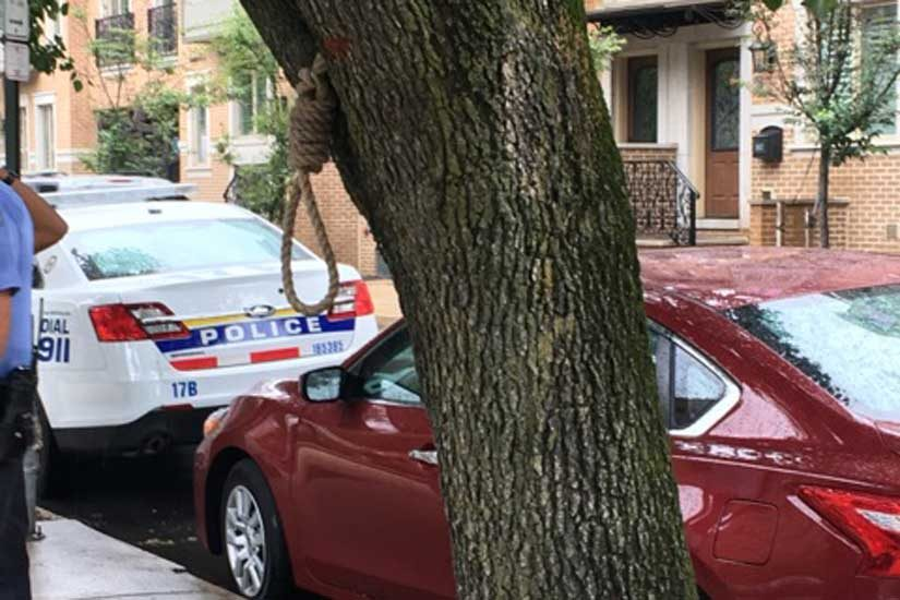 A noose was found at 18th and Lombard Streets in Center City late last week.
