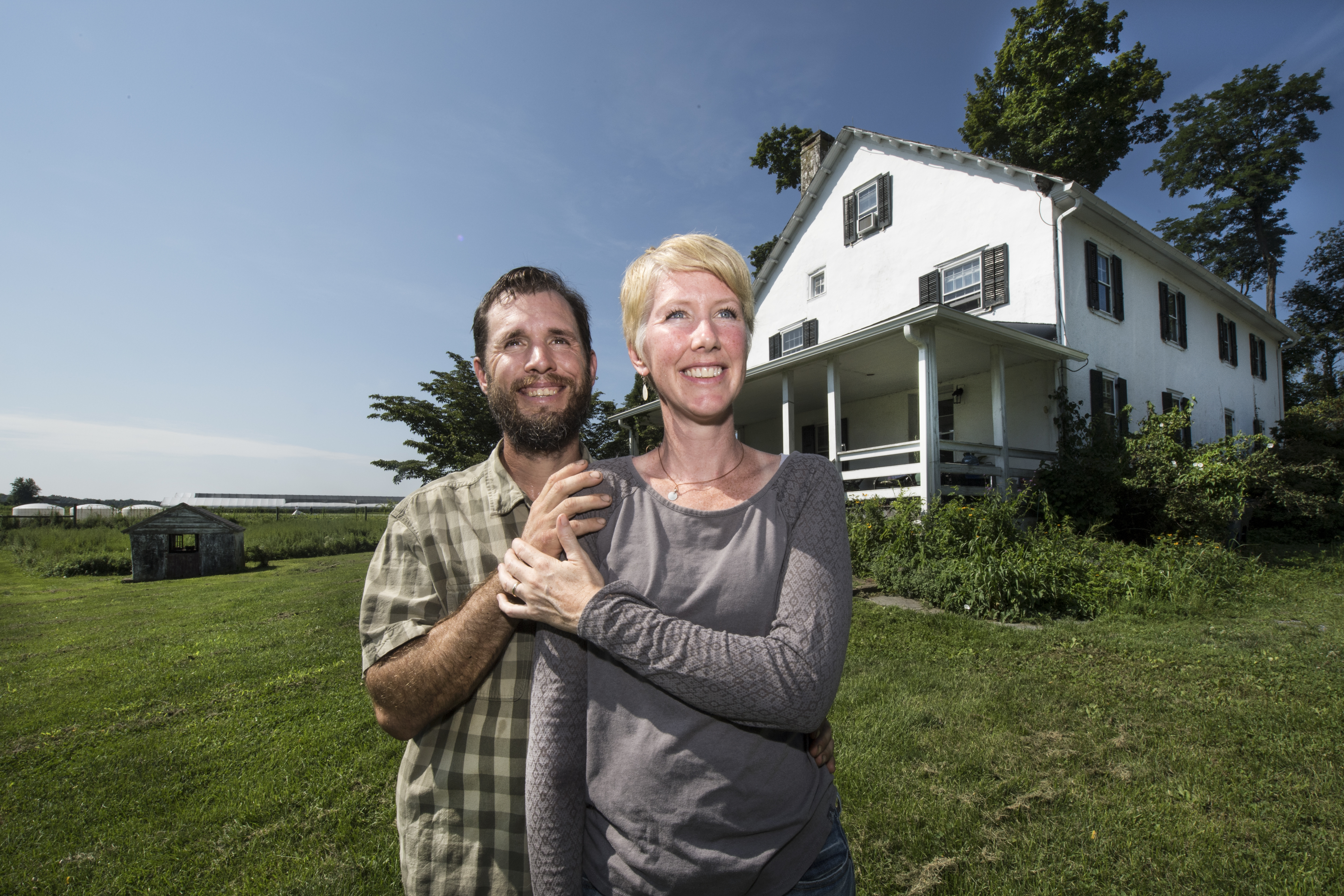 Deirdre Flemming and her husband, Trey Flemming, are photographed outside their home at the Two Gander Farm in Downingtown, Pa. Wednesday, August 8, 2018. The Flemmings operate Two Gander Farm owned by the Brandywine Conservancy, a Chadds Ford-based land trust.