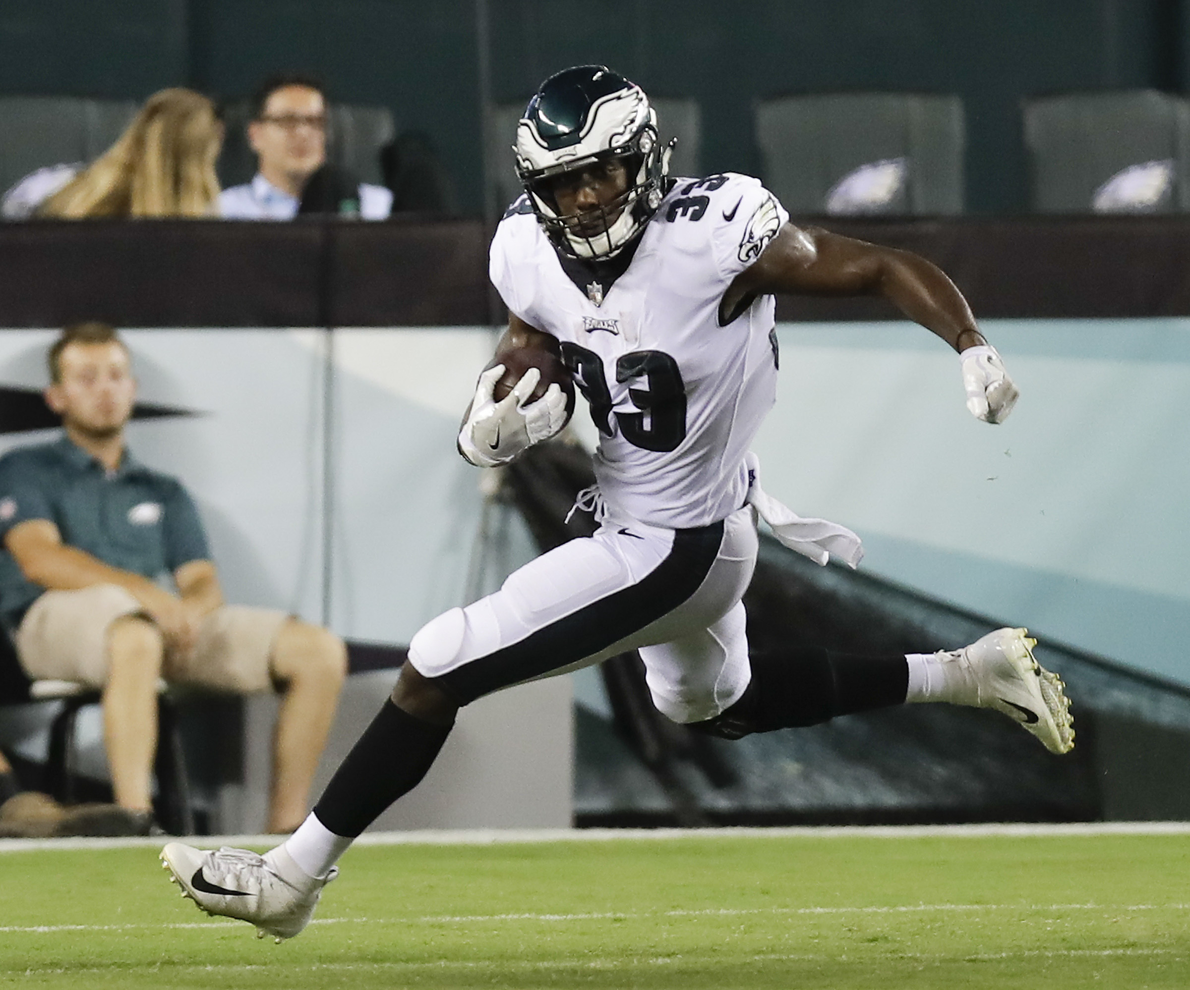 Eagles running back Josh Adams carries the football against the Steelers.