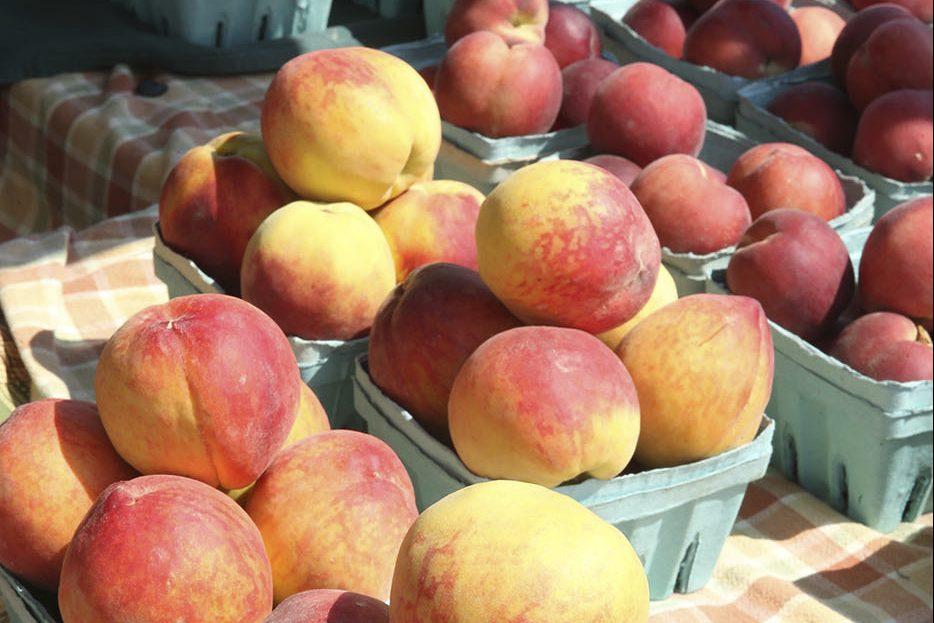 Peaches for sale at Ventnor Farmer's market at Holy Trinity Church in Ventnor.
