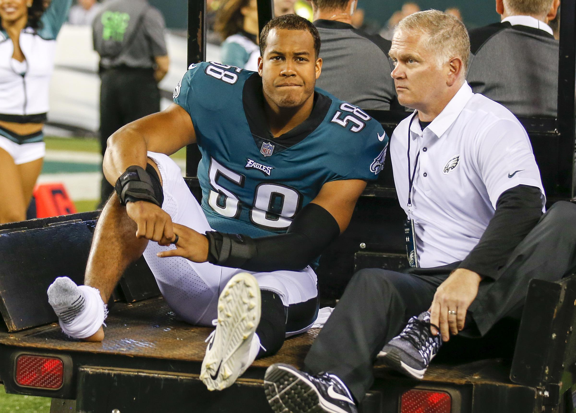 Jordan Hicks was injured during the Eagles´ Oct. 23 matchup vs. the Redskins last season.