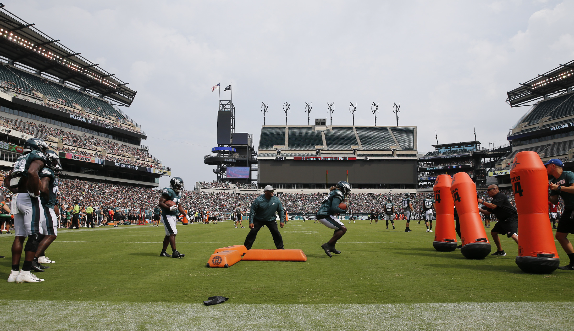 Eagles running backs run drills during an open practice at Lincoln Financial Field in South Philadelphia on Saturday, August 11, 2018.