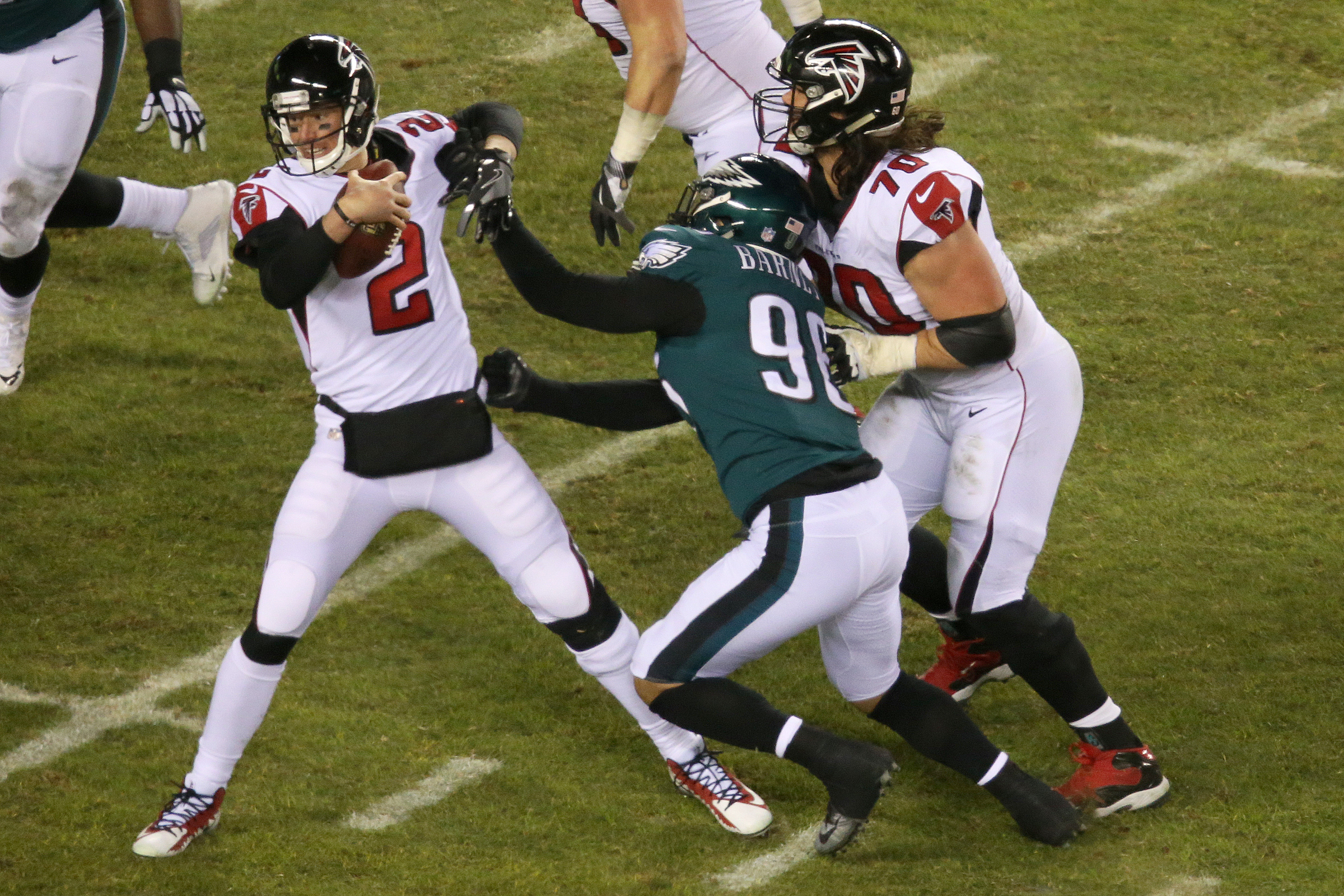 Quarterback Matt Ryan fends off a sack attempt by Derek Barnett during the Eagles´ playoff win over the Falcons in January. Barnett managed just half a sack in the final six games of the season.