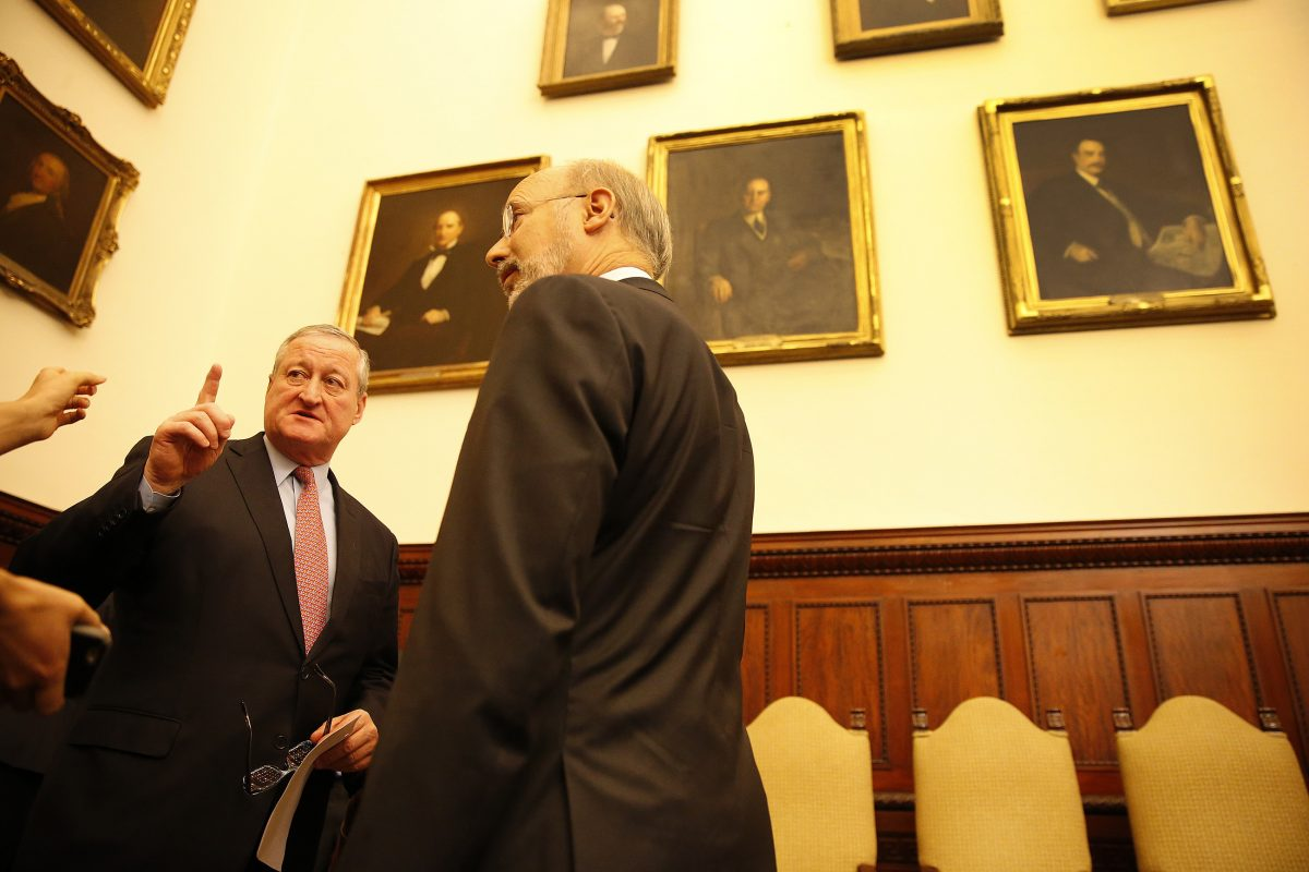 Mayor Kenney, left, and Gov. Wolf talk before the Mayor's Task Force to Combat the Opioid Epidemic in Philadelphia presents its recommendations at City Hall in Philadelphia, PA on May 19, 2017. DAVID MAIALETTI / Staff Photographer