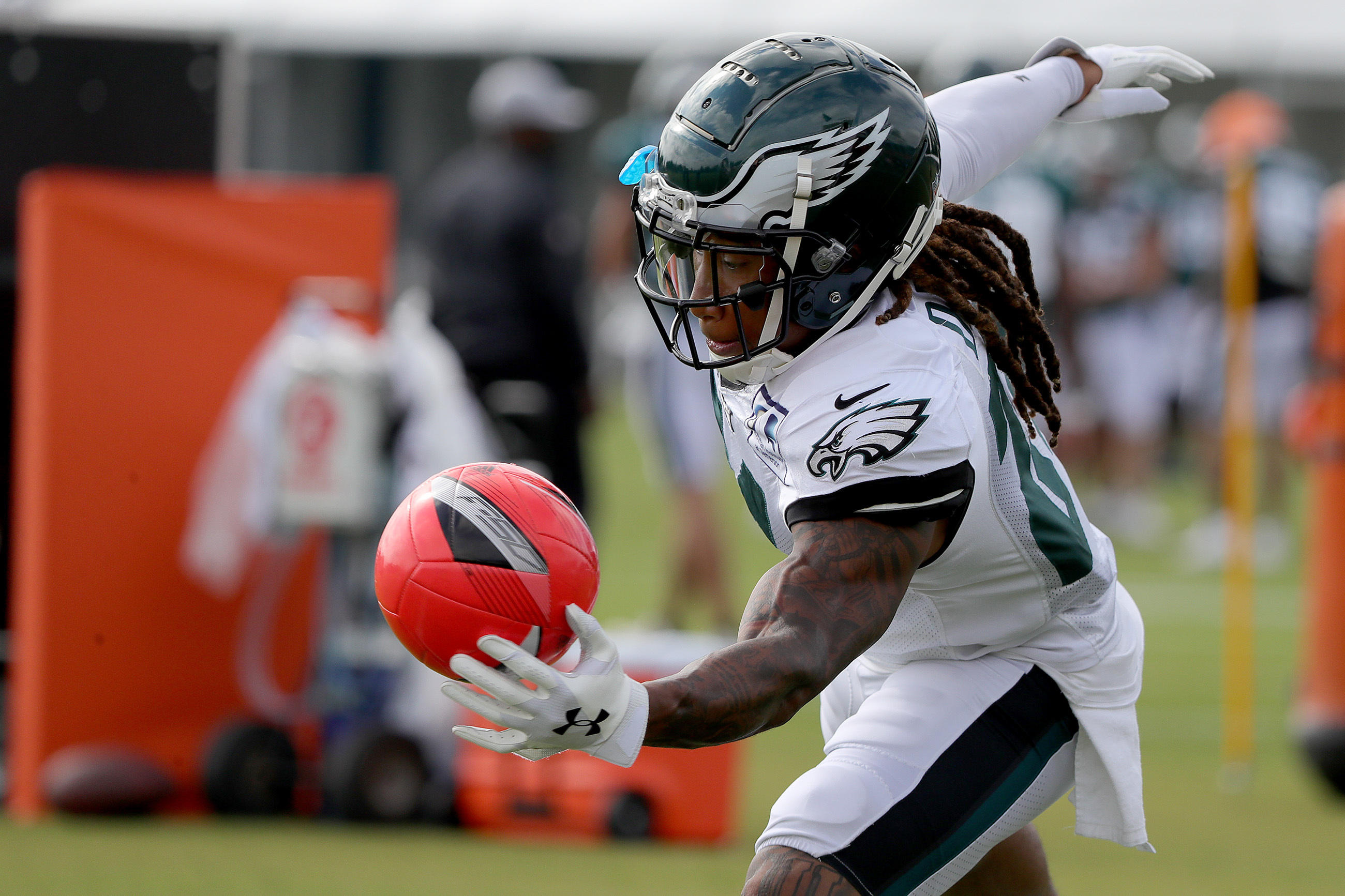 Eagles' Ronald Darby bats a ball from going into the endzone during a drill at the Philadelphia Eagles training camp at the NovaCare complex in Philadelphia, PA on July 31, 2018. DAVID MAIALETTI / Staff Photographer