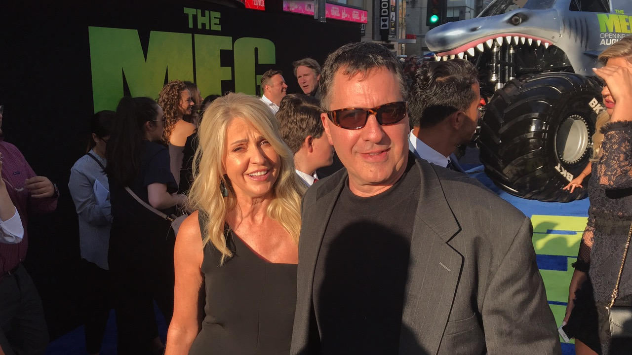 """Kim and Steve Alten, author of """"The Meg"""", at THE MEG Premiere on Monday, August 6 in Los Angeles."""