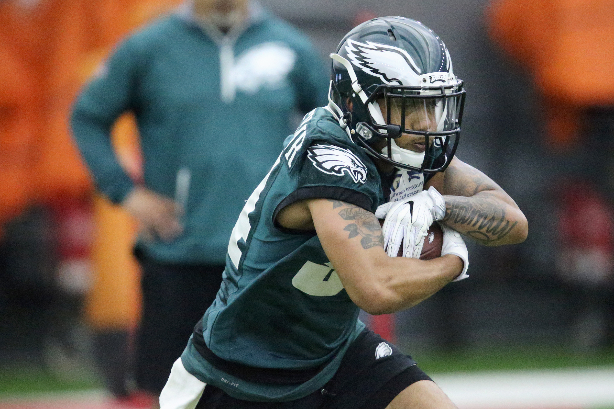 Eagles running back Donnel Pumphrey carries the ball during practice at the NovaCare Complex in South Philadelphia on Tuesday, May 22, 2018. Tuesday was the first day of the Eagles´ organized team activities. TIM TAI / Staff Photographer