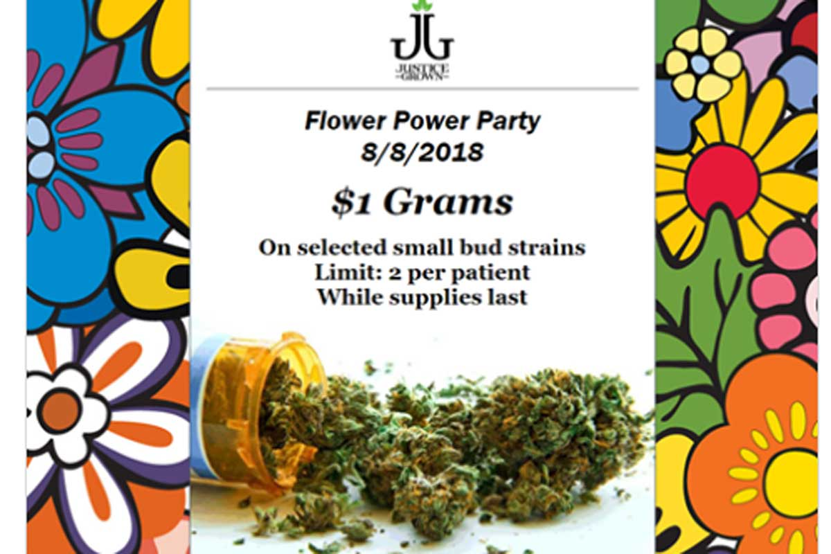 Justice Grown let patients know about its one day marijuana deal with a notice on Facebook.