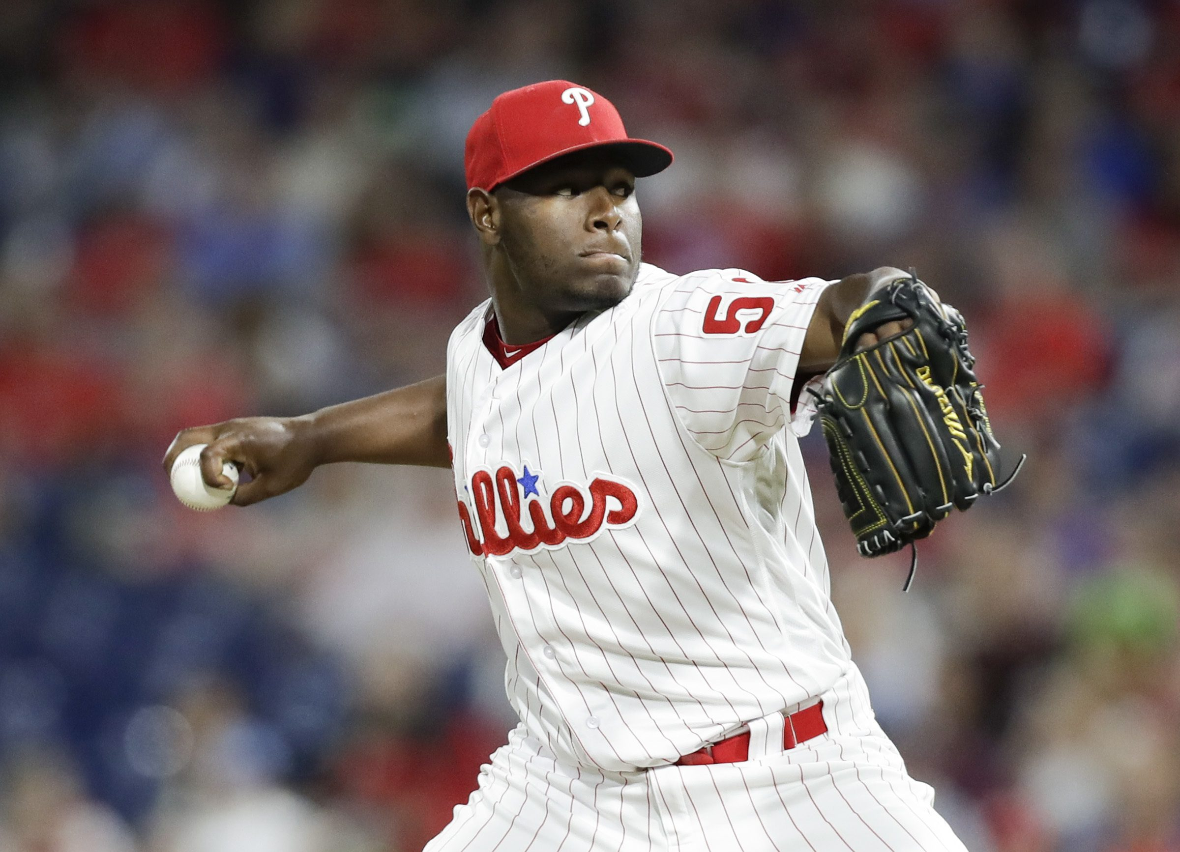 Phillies pitcher Hector Neris throws the baseball against the Atlanta Braves on Wednesday, May 23, 2018 in Philadelphia.