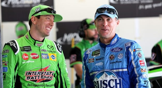 Kyle Busch (left) and Kevin Harvick lead the Monster Energy NASCAR Cup Series standings.