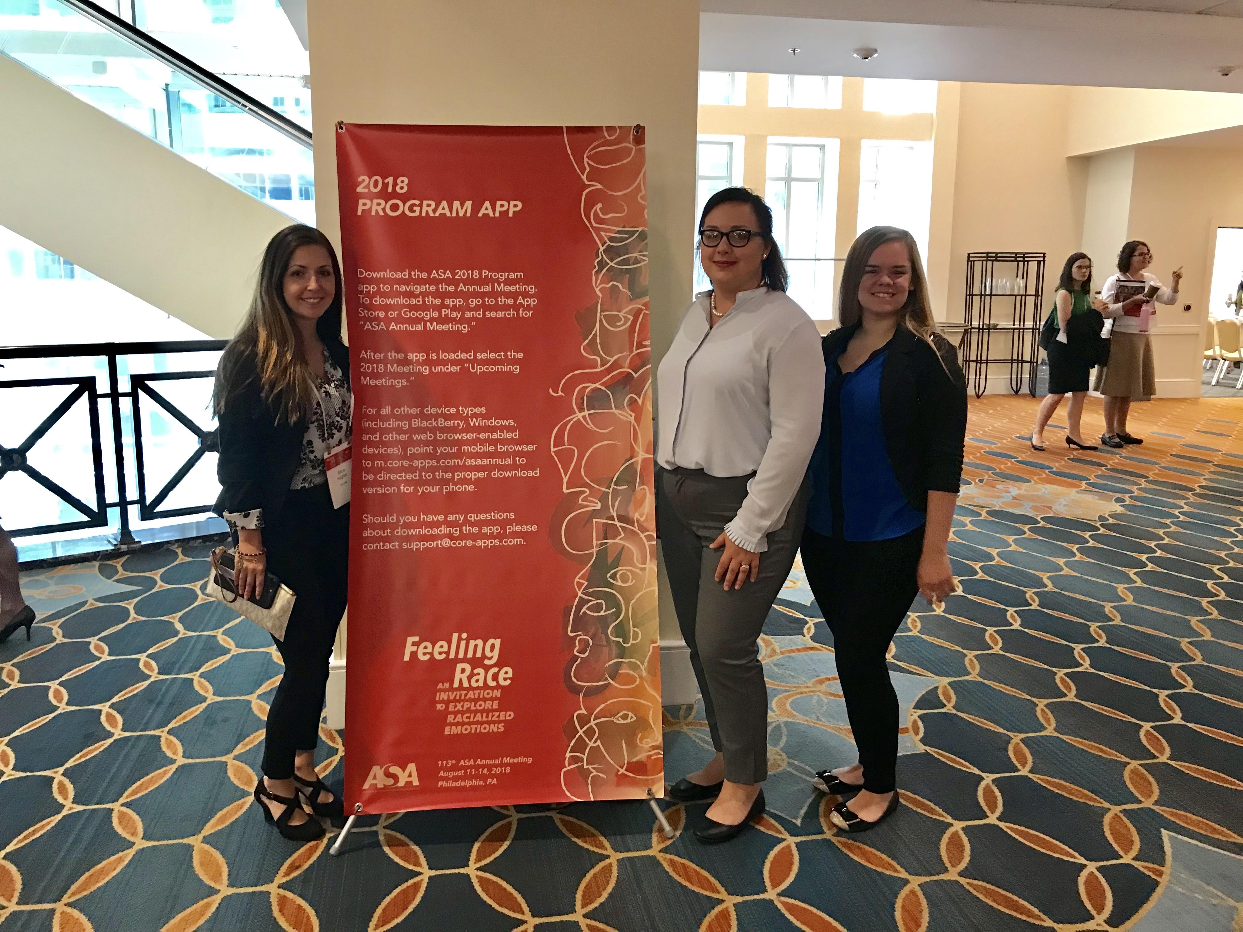 Penn State Lehigh Valley students Erica Hughes, Kirsten Mears and Amanda Borges (left to right) presented research on how many college students know someone with opioid addiction at a conference in Philadelphia.