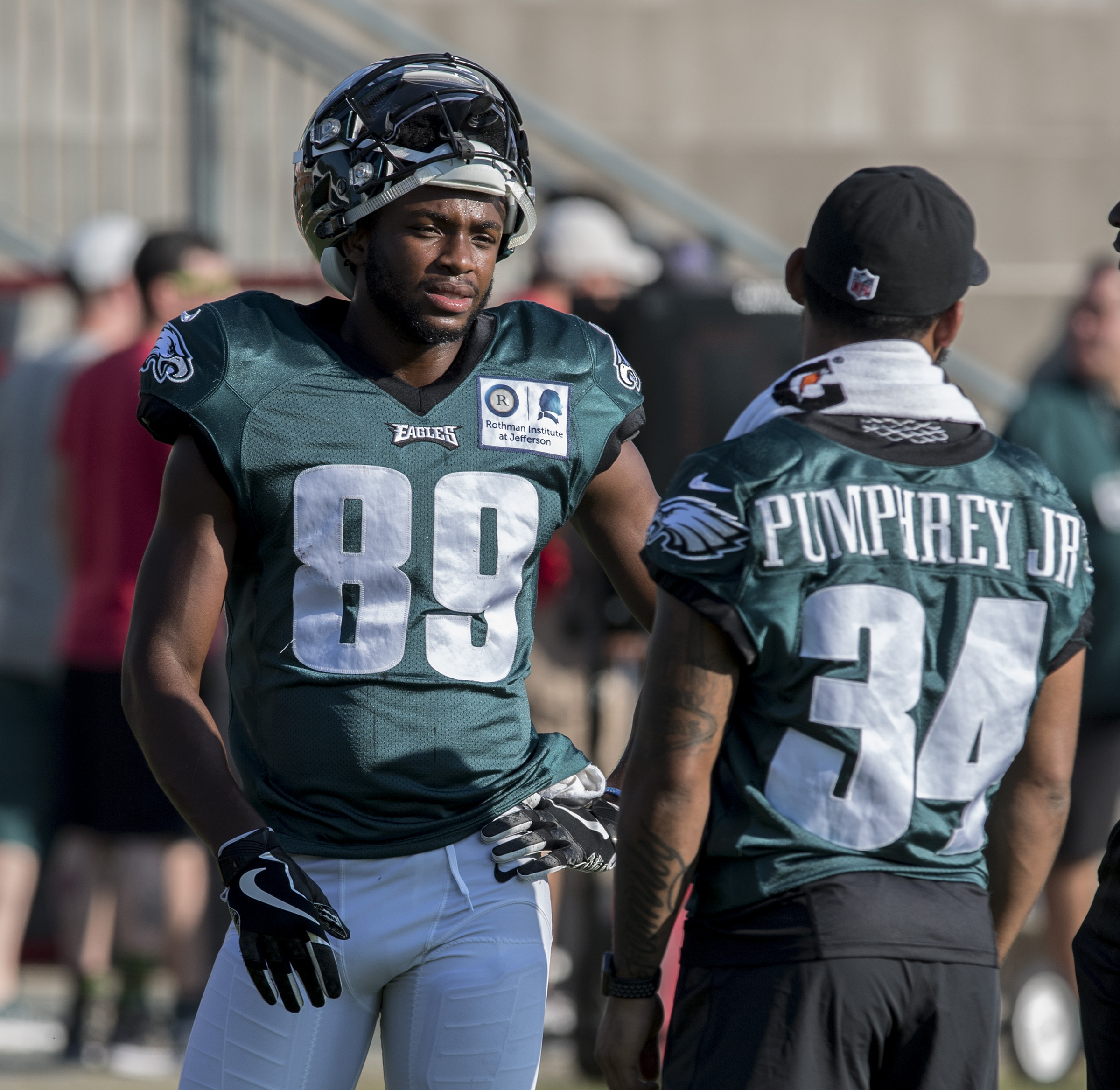 Eagles wide receiver Greg Ward (left) with fellow rookie Donnel Pumphrey during last year´s training camp.