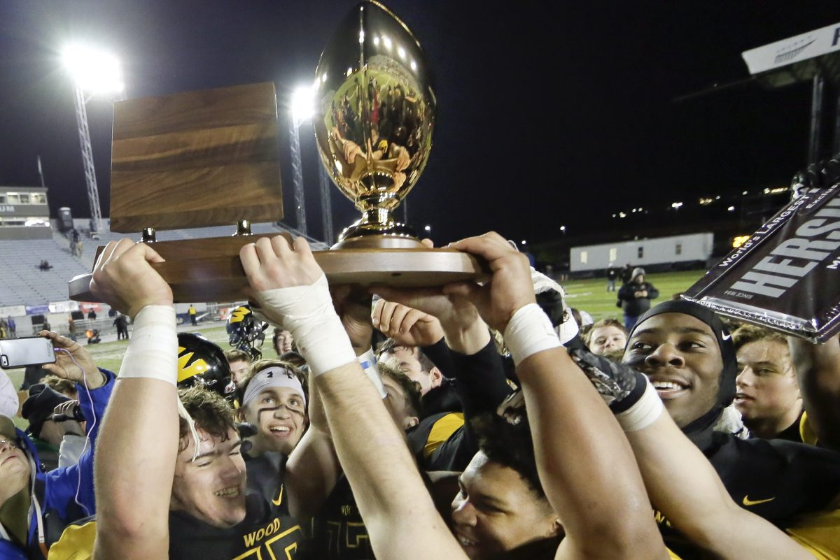 Archbishop Wood celebrating after beating Gateway for the PIAA Class 5A title in Hershey last season.