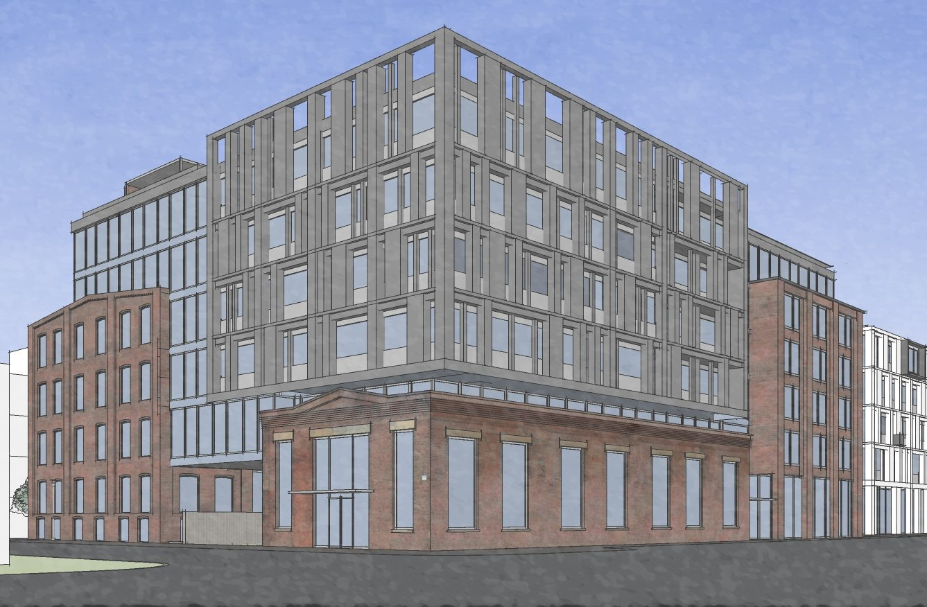 Artist´s rendering of apartment building planned at the former Frankford Chocolate Factory site, as seen from corner of Washington Avenue and 22nd Street. Credit: JKRP