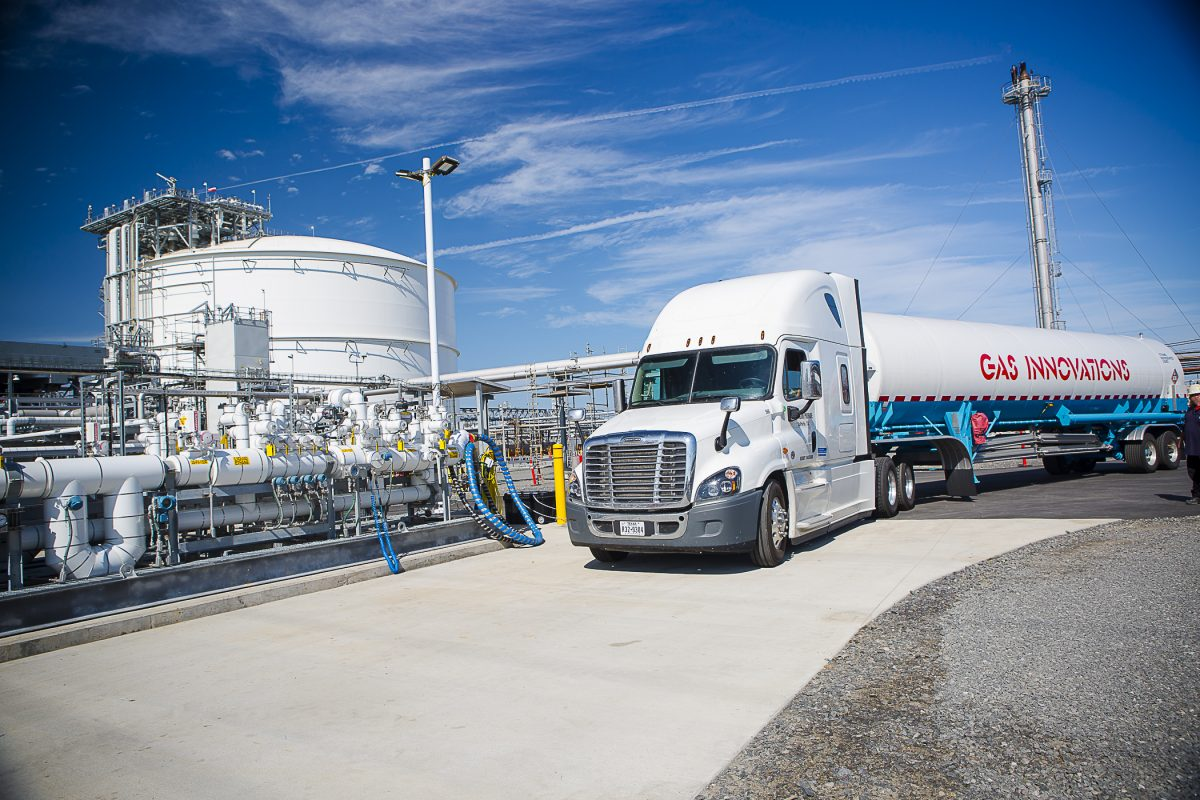 A tanker truck at the Marcus Hook Industrial Complex.