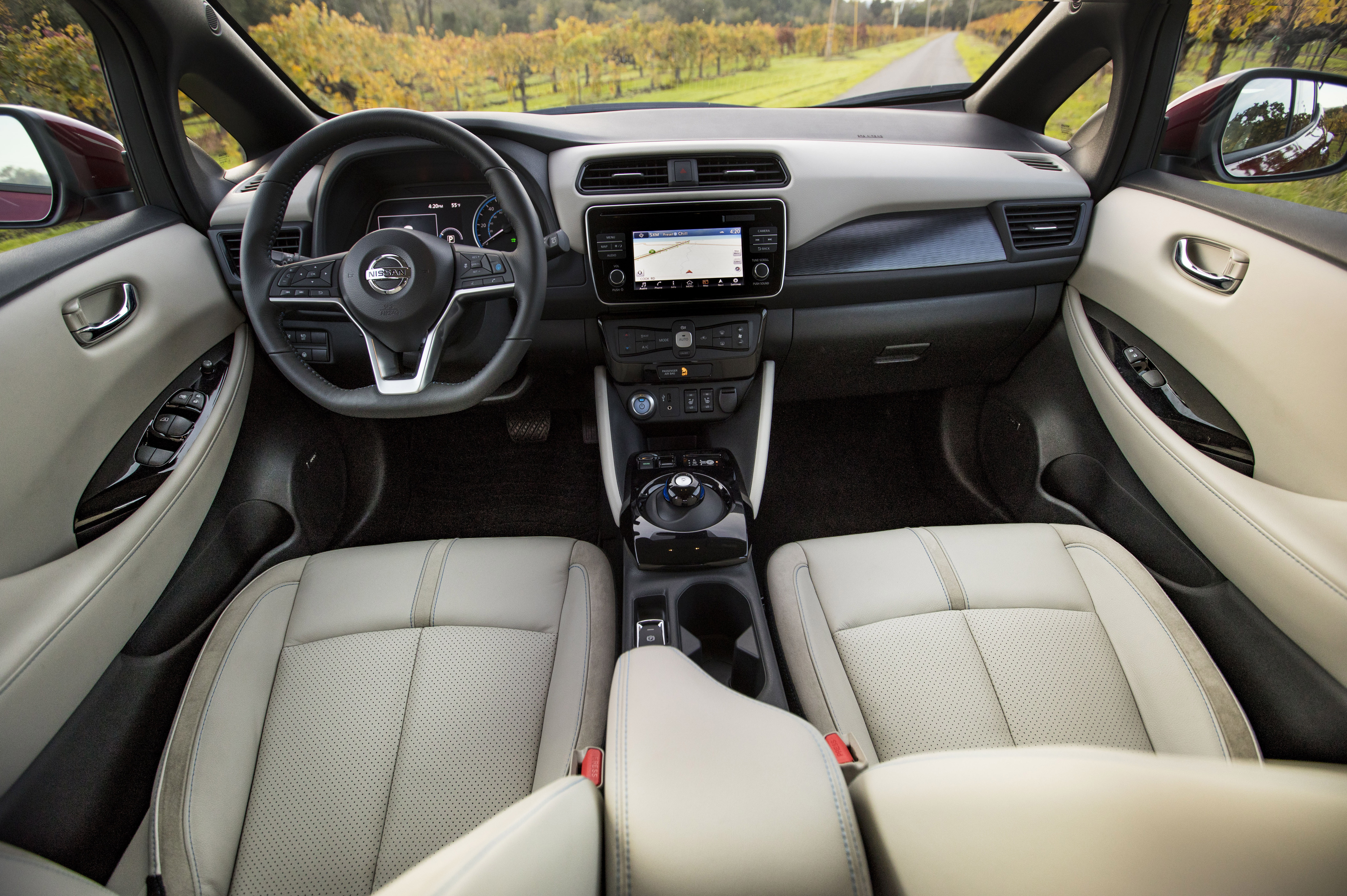 The interior of the Nissan Leaf is spare but attractive; Nissan has always had a stylish touch on the inside.