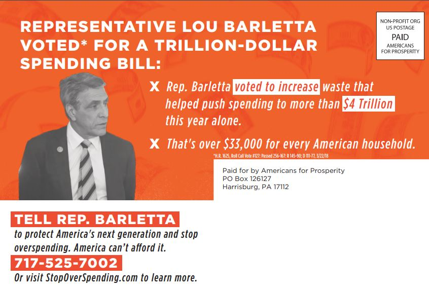 Americans for Prosperity´s Pennsylvania chapter sent this mailer to voters in May to criticize U.S. Rep. Lou Barletta´s vote in March for a 1.3 trillion omnibus federal budget package.