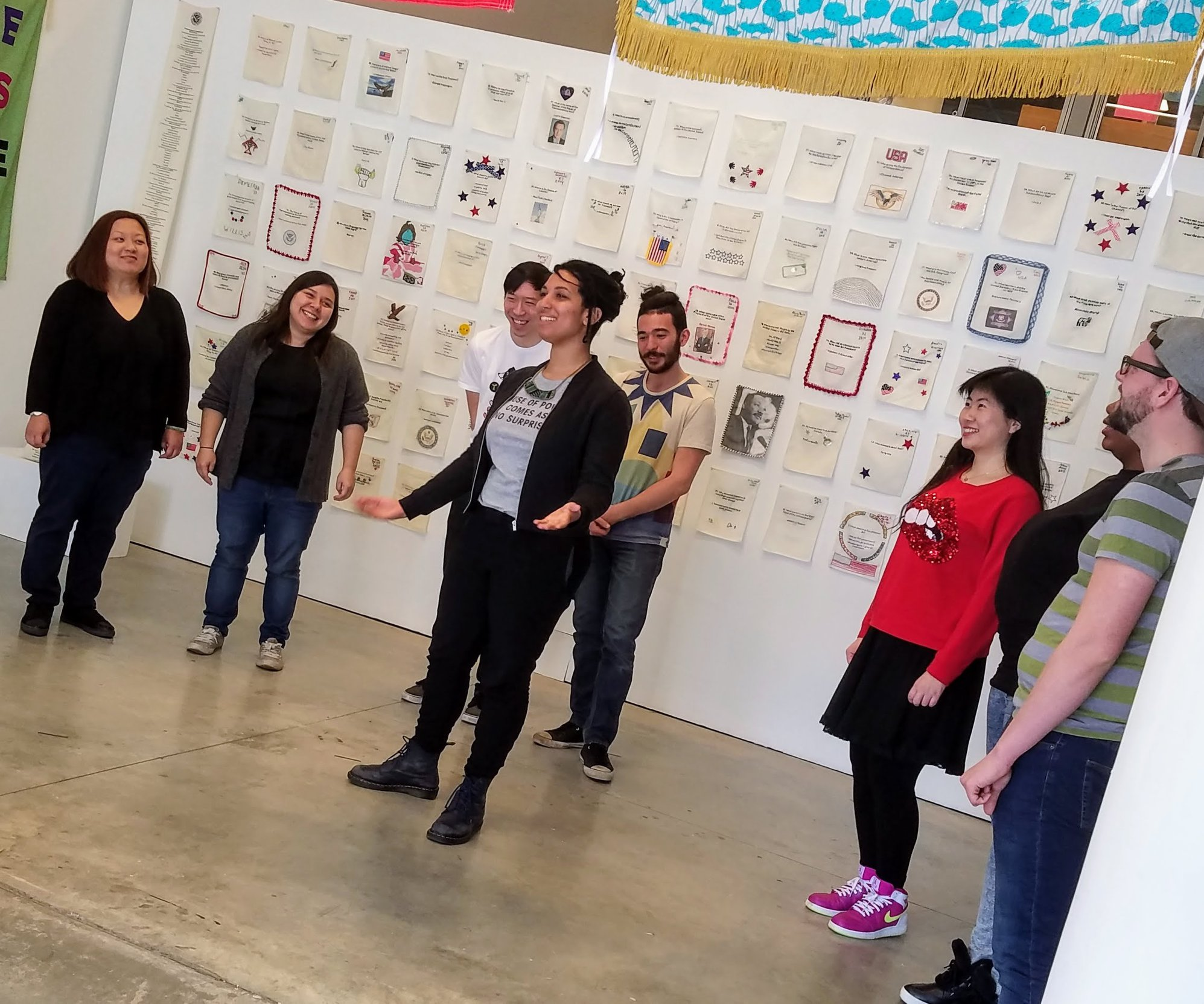 Performers work-shopping songs for the Asian Arts Initiative´s ´Activist Songbook.´