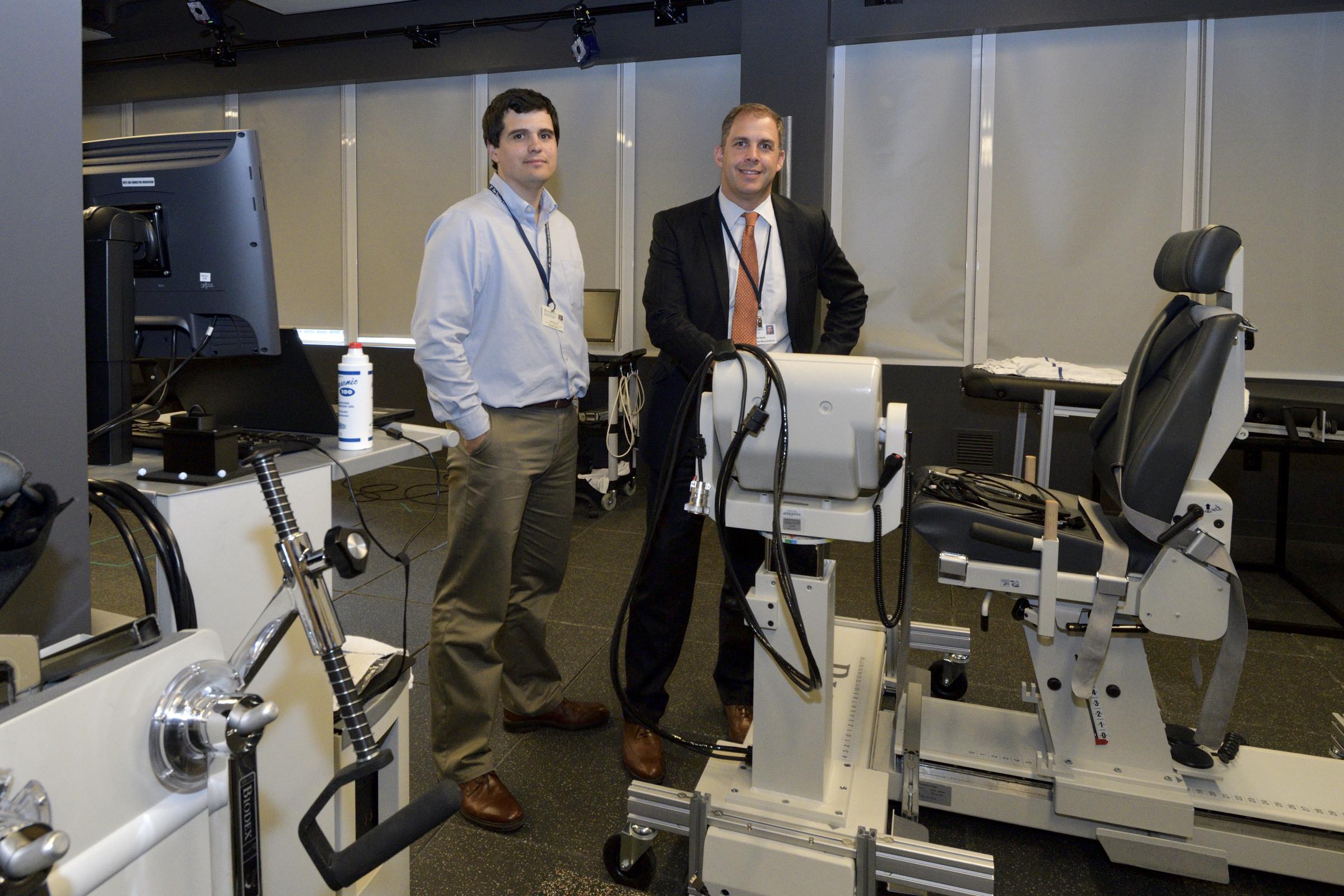 Josh Baxter, left, and Neil Ravitz at the Human Motion Lab.