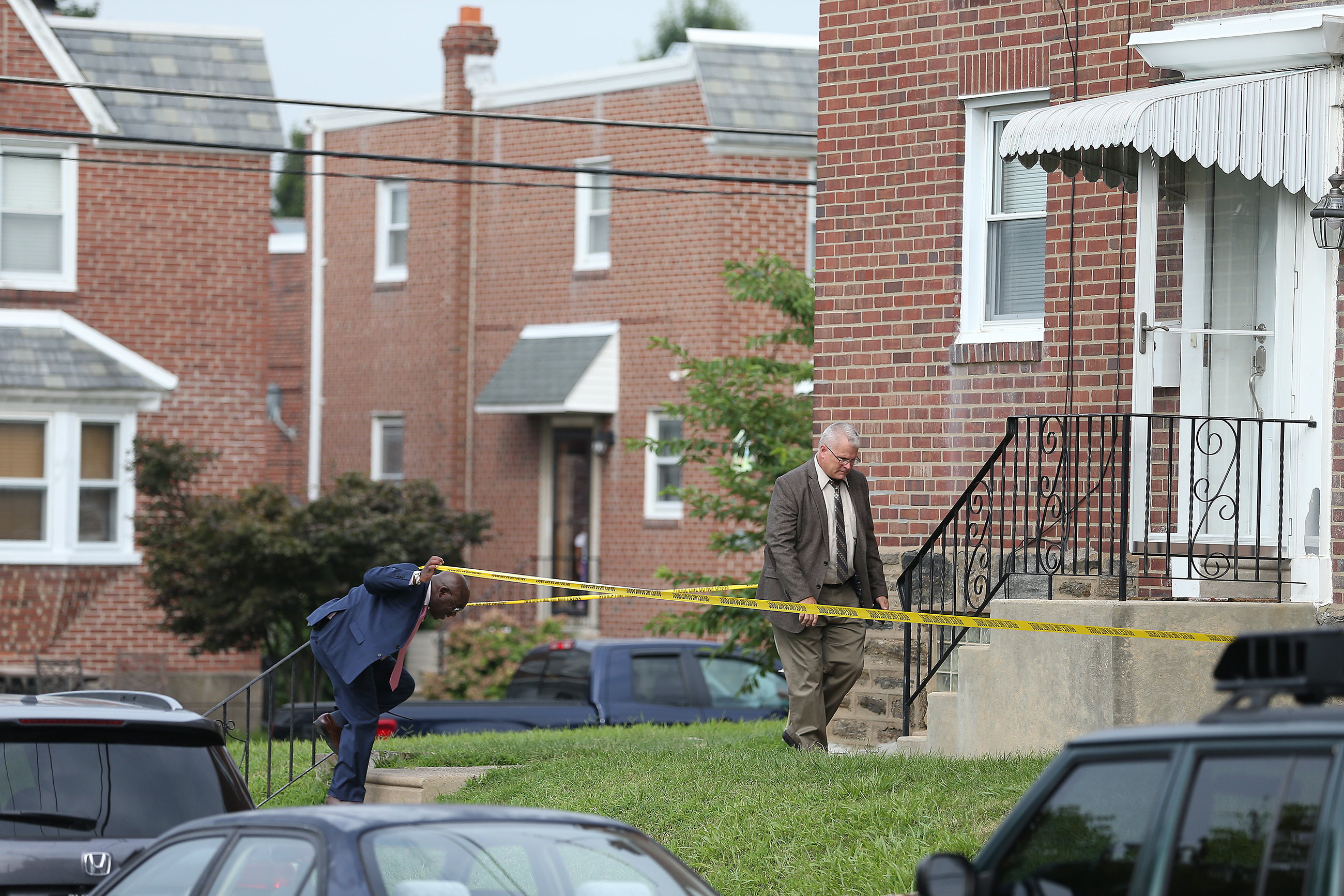 Investigators arrive along the 4000 block of Meridian Street in Philadelphia, Pa. on Aug. 17, 2018.