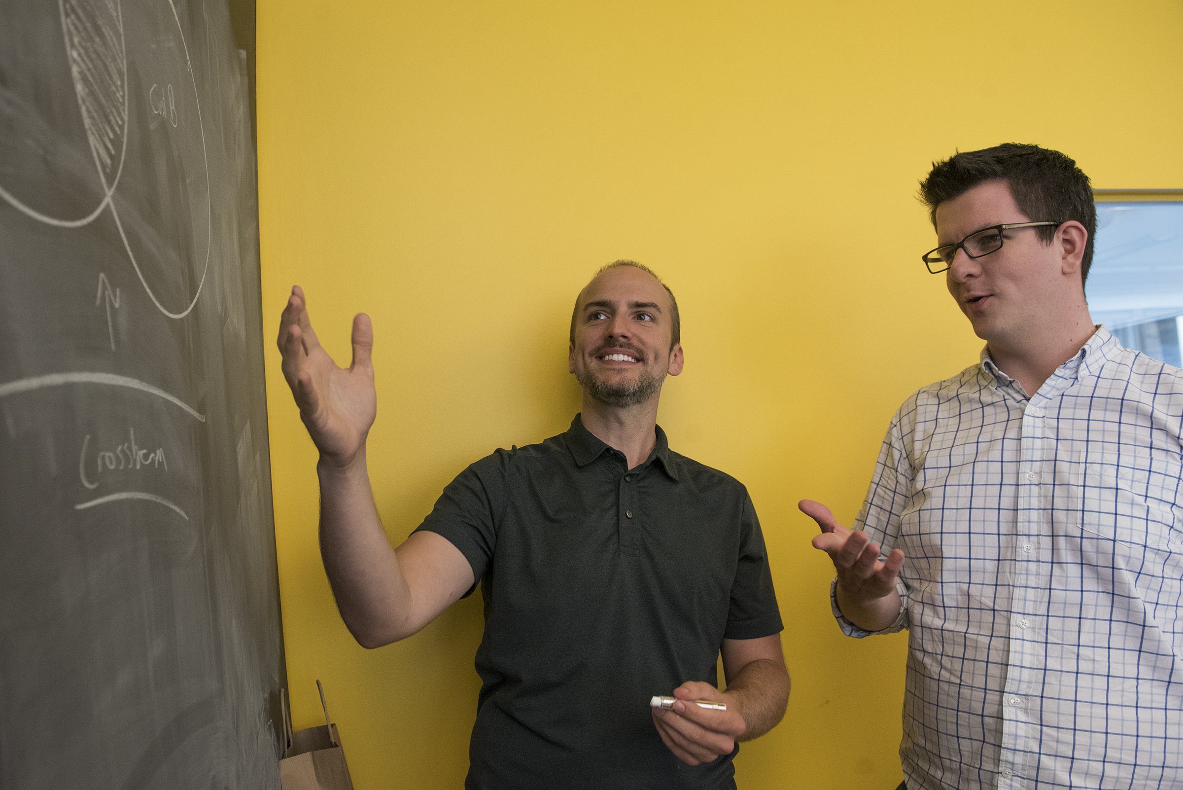 "PSL president Robert Moore, left, in the offices of his new start-up, Crossbeam, with business partner Francis ""Buck"" Ryan, said data from the diversity, equity and inclusion survey will help make conversations about gaps in the Philadelphia start-up community ""as productive and action-oriented as possible."""