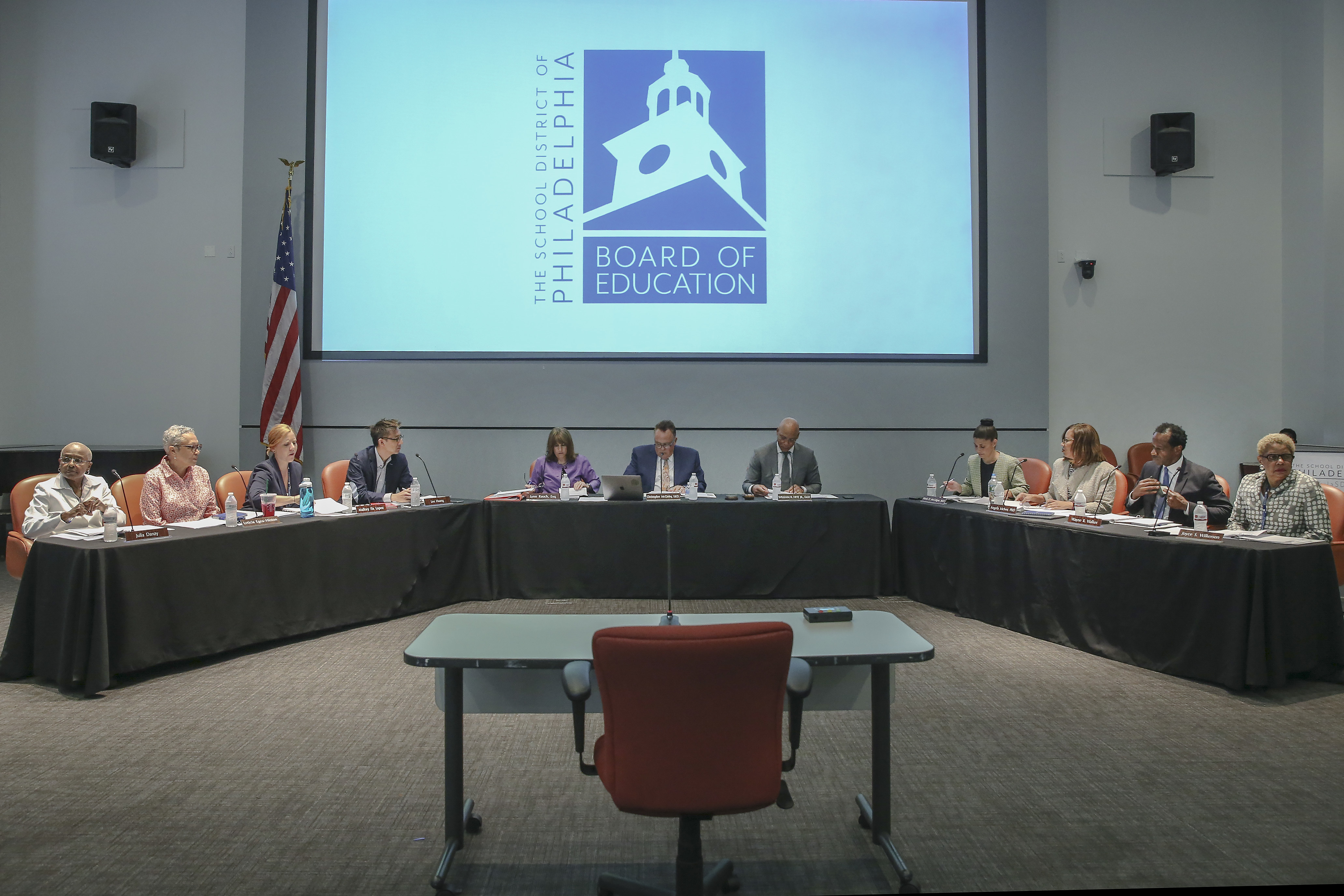 The Philadelphia School Board at their first meeting in July 2018.