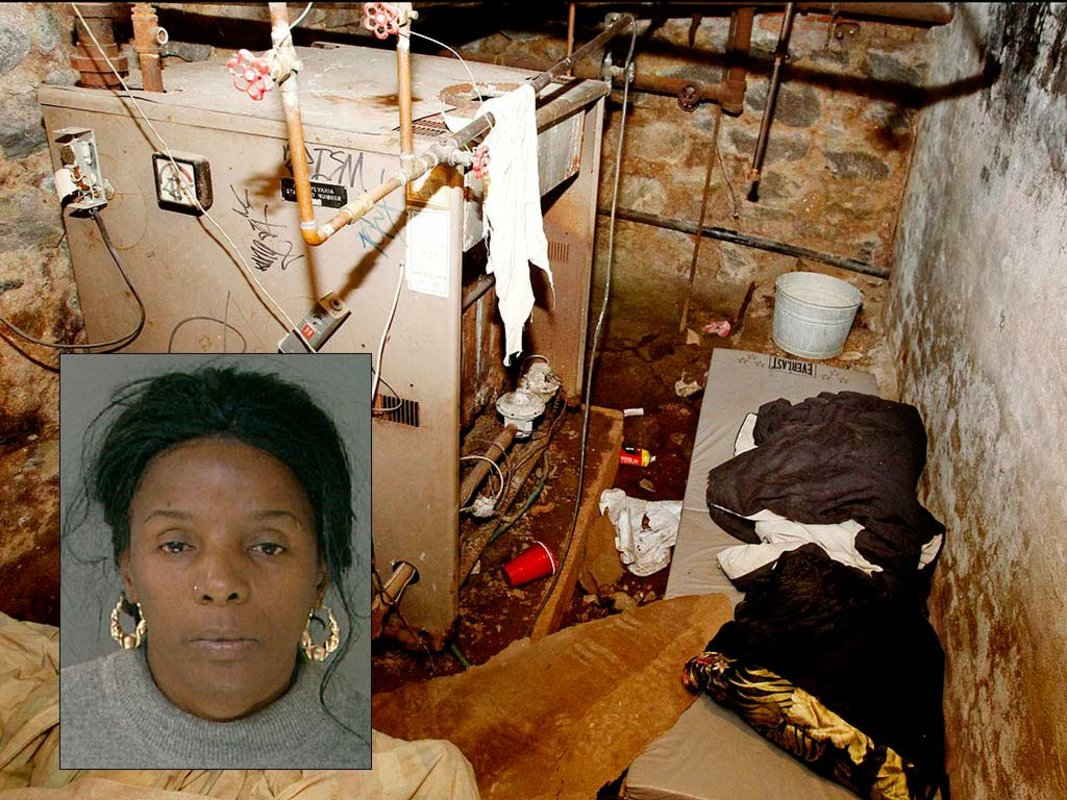 The sub-basement of Jean McIntosh´s Tacony apartment, where Philadelphia police in October 2011 rescued four captives emaciated, covered in filth and begging to be left there out of fear that they would be punished. Inset: Ringleader Linda Ann Weston.
