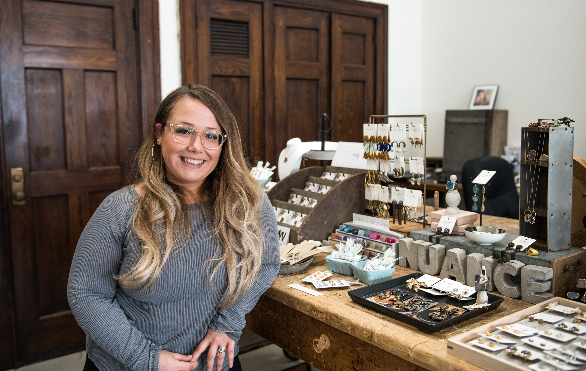 Nuance Jewelry owner Wendee Daelhousen handcrafts an array of vintage-inspired pieces, many of which encompass botanical themes, such as the popular herb-shaped earrings (basil, rosemary, and parsley) attached to plantable, seed-infused cards.